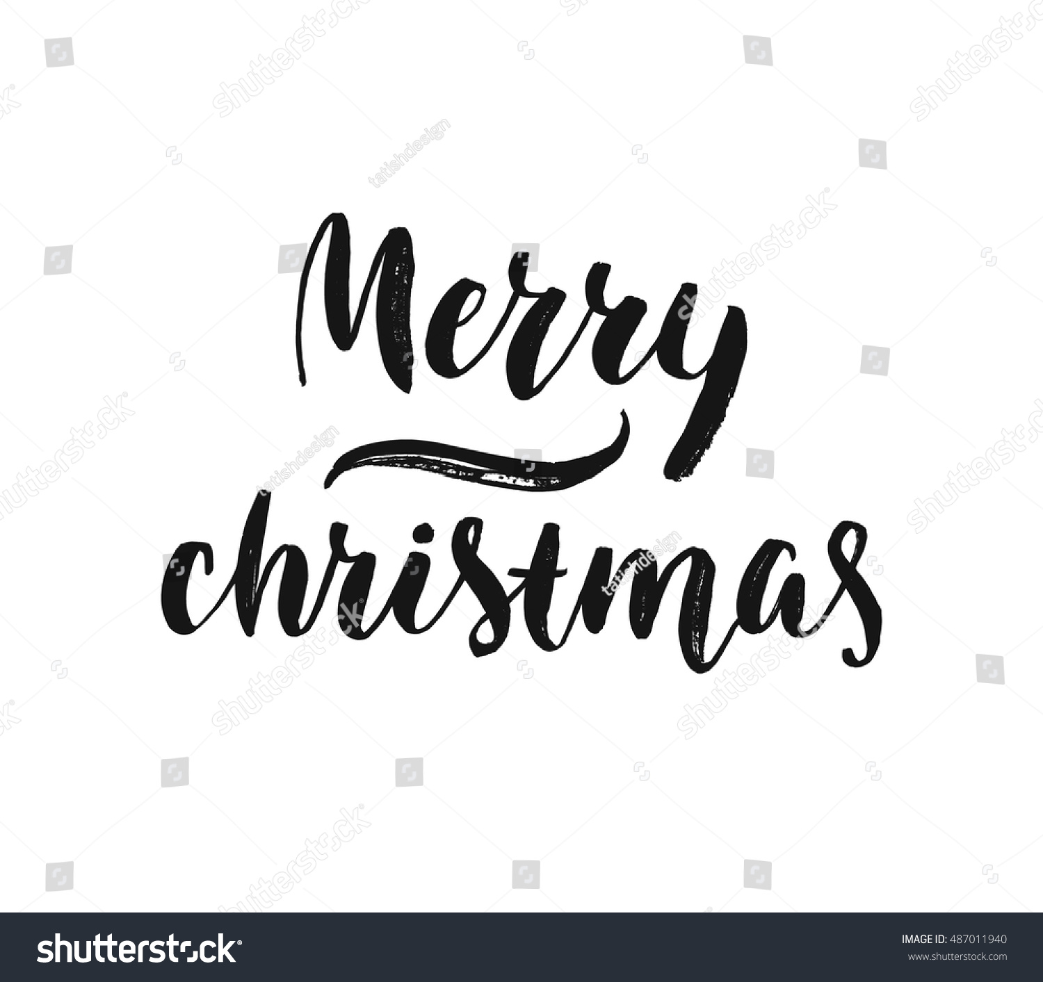 Merry Christmas Greeting Card Black White Stock Vector (Royalty Free ...