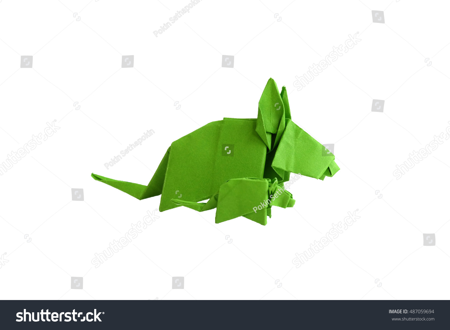 Origami green rat baby rat beautiful stock photo 487059694 origami green rat and baby rat beautiful made by one paper without cutting and tearting on jeuxipadfo Images
