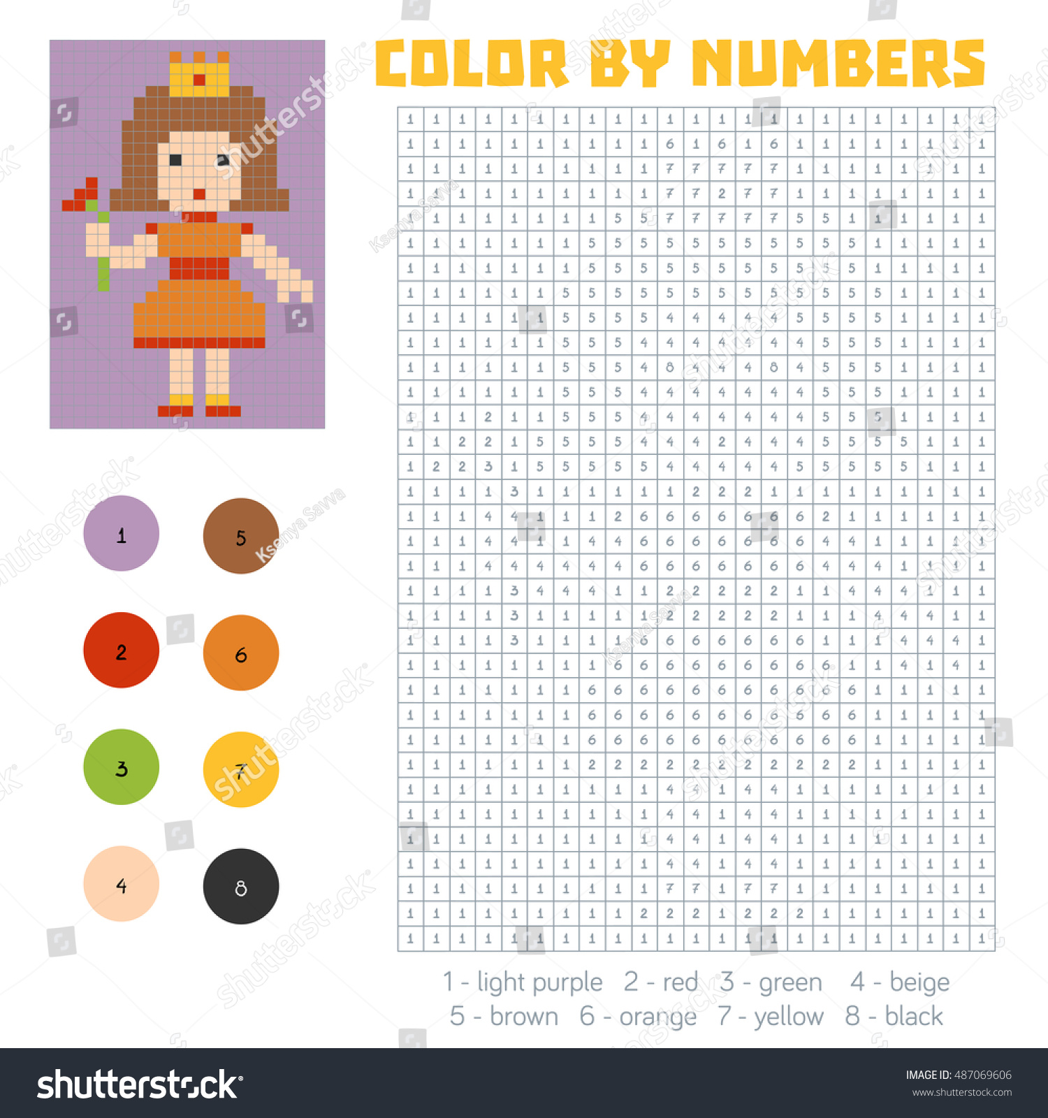 Game color by numbers - Color By Number Education Game For Children Princess Preview Save To A Lightbox