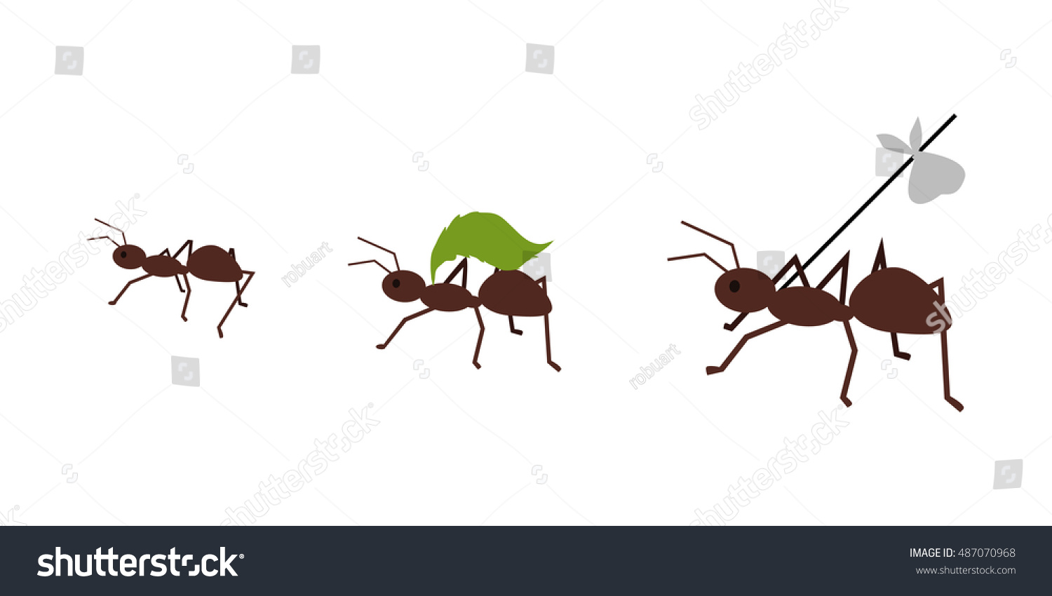 brown ant carrying her baggage on stock illustration 487070968