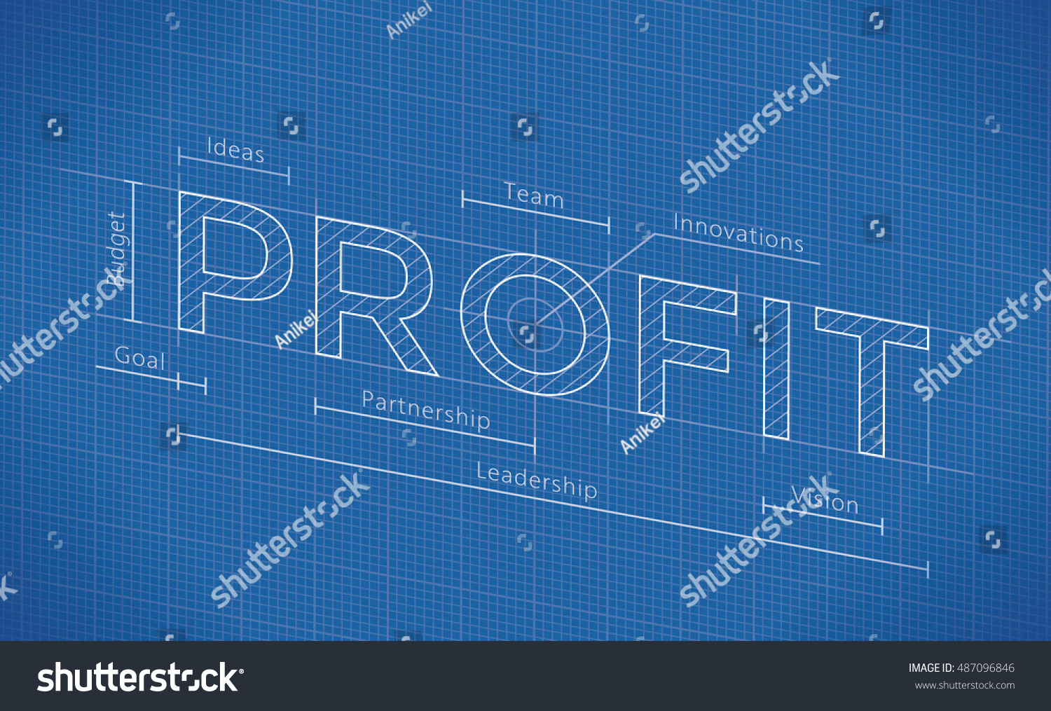 Abstract business blueprint profit word idea stock vector abstract business blueprint with profit word idea company profit elements budget goal malvernweather Image collections