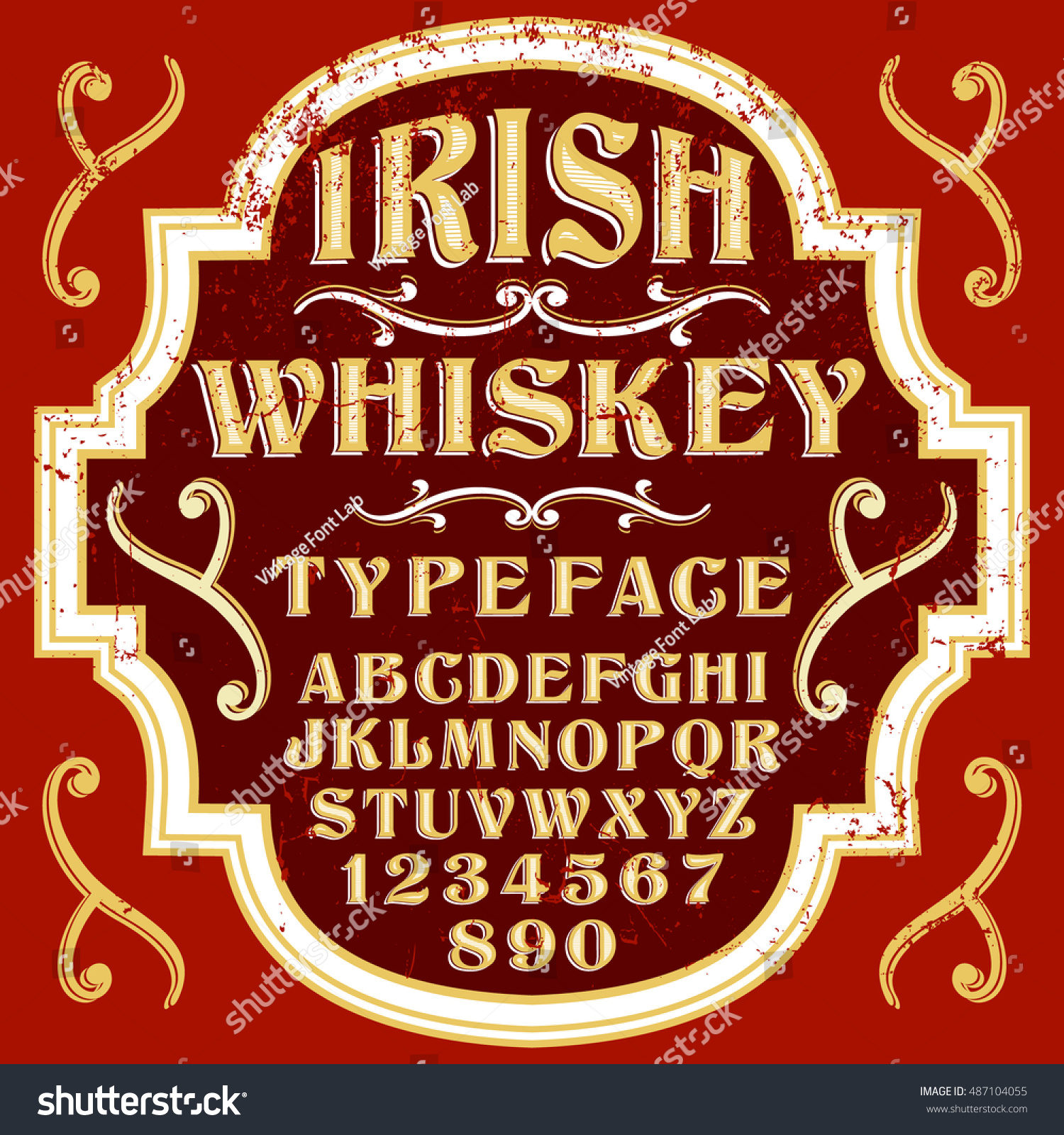 Irish Whiskey vector font old style typeface ideal for drinks label design