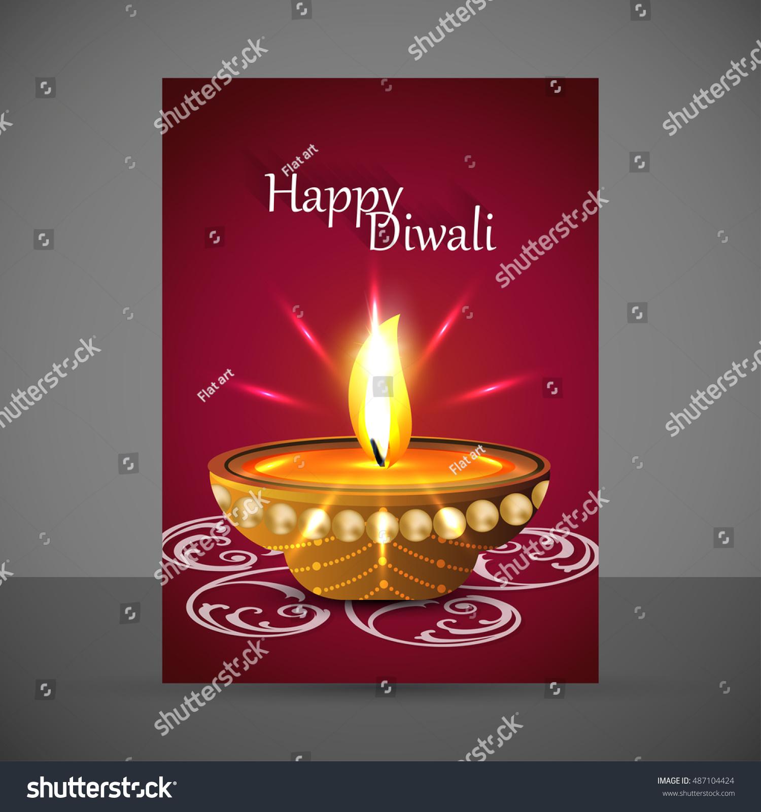 Indian Festival Lights Happy Diwali Greeting Stock Photo Photo