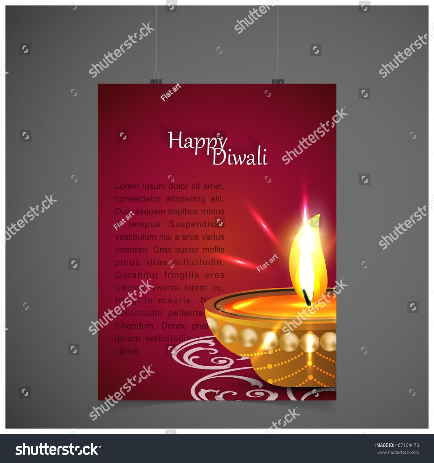 Indian Festival Lights Happy Diwali Greeting Stock Vector 487104475
