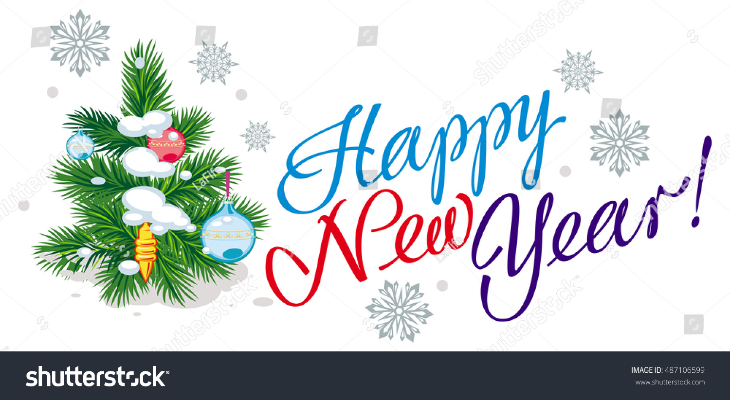 holiday banner with christmas tree artistic written texthappy new year