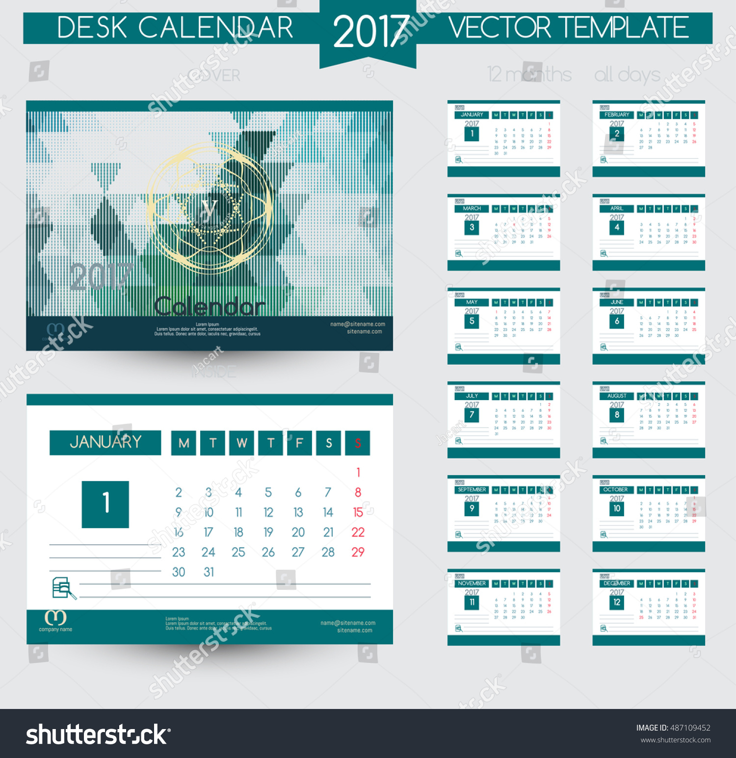 Calendar Templates Graphic Design : Design desk calendar vector templates stock
