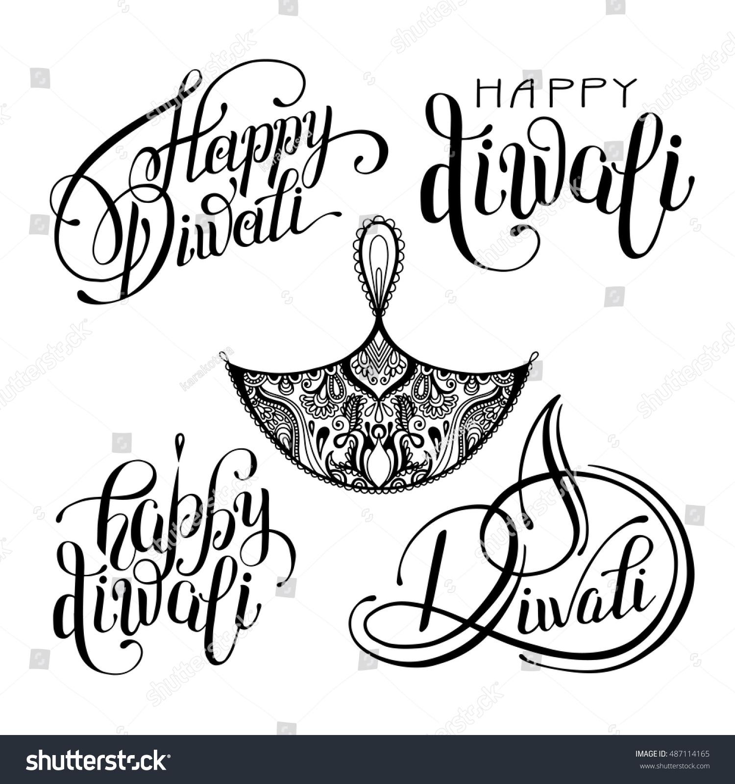Set Black White Hand Drawing Design Stock Vector (2018) 487114165 ... for Diwali Festival Black And White Images  110ylc