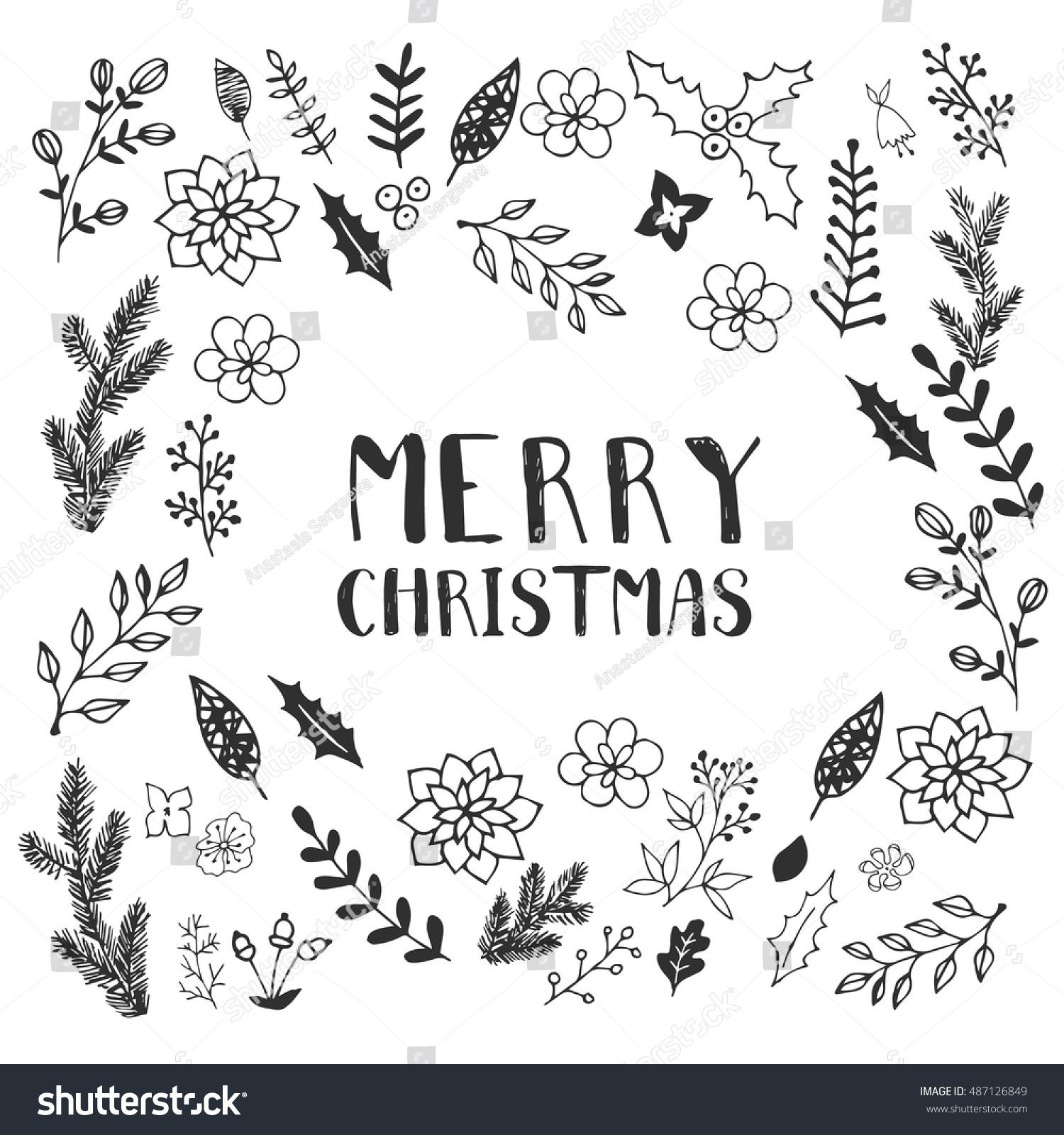 Black White Christmas Greeting Card Template Stock Vektorgrafik
