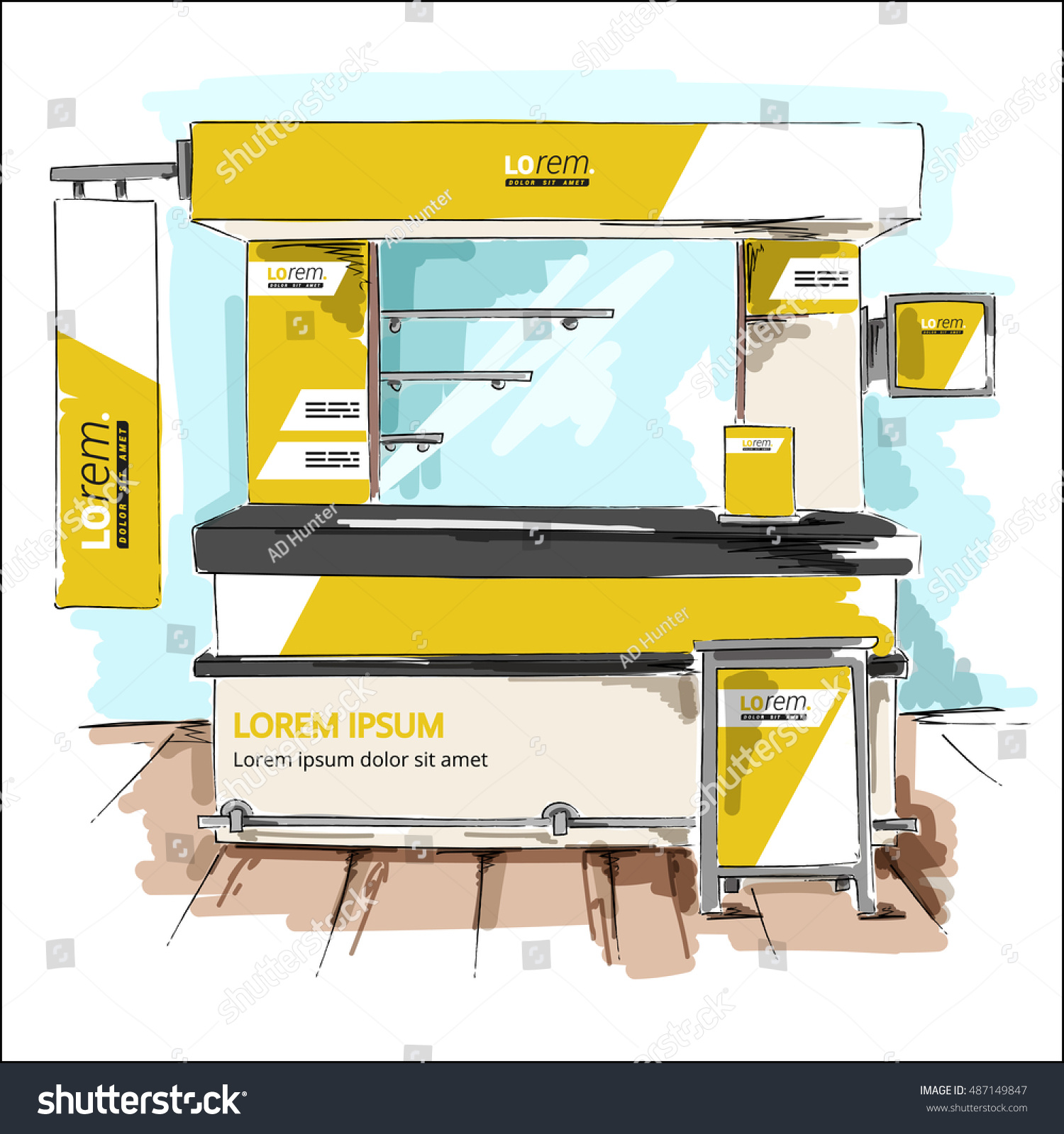 Exhibition Stand Design Vector : Yellow exhibition stand design booth template stock vector