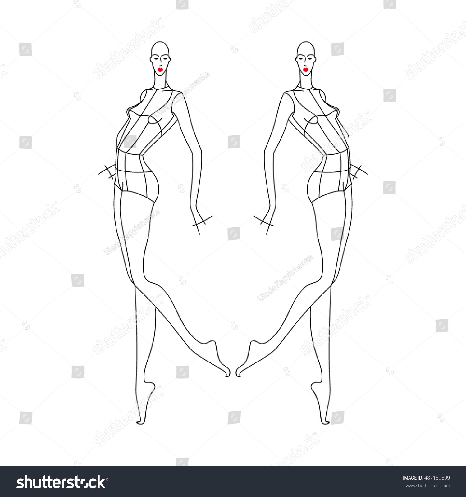 Template Fashion Girl Model Sketch Stock Vector Royalty Free