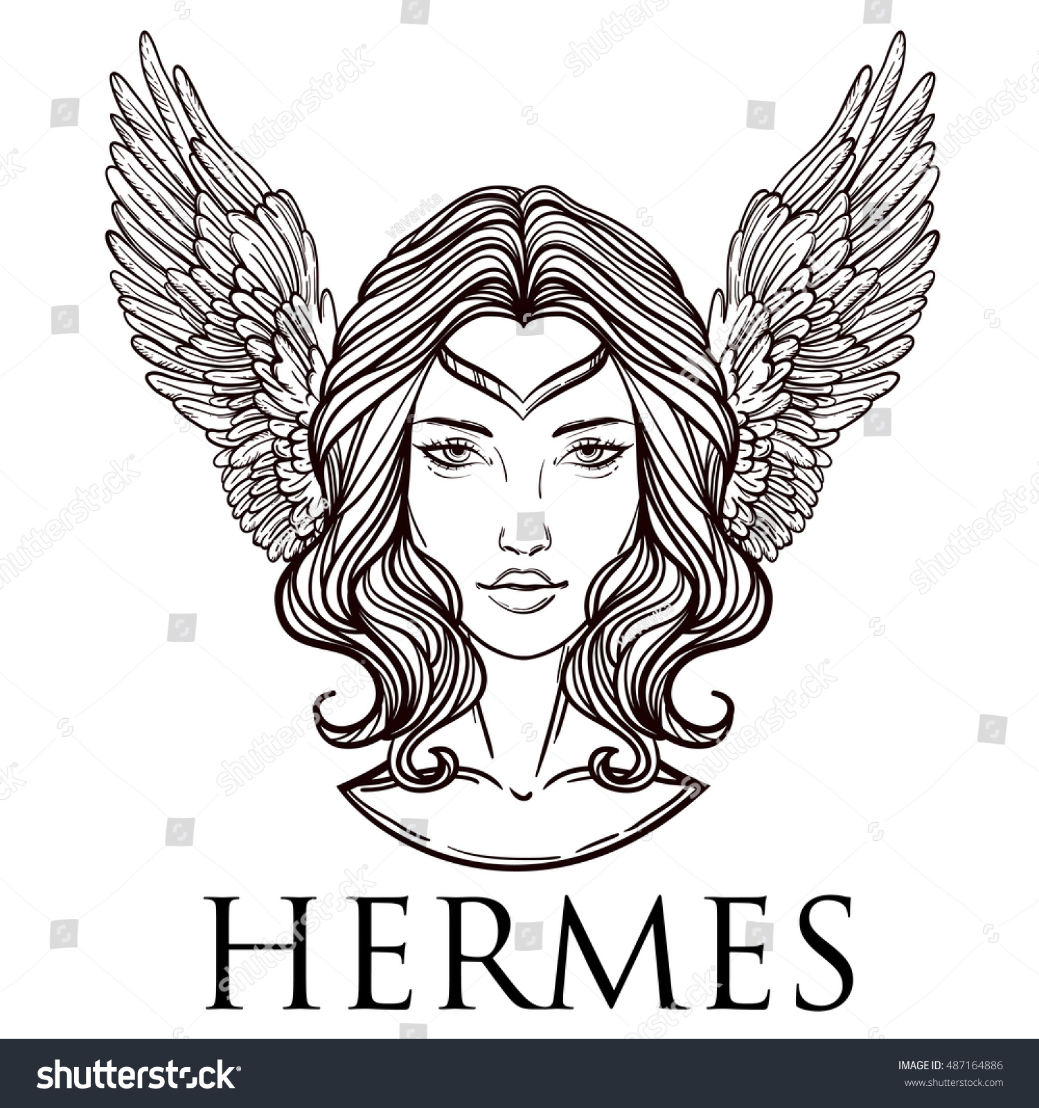 Vector Illustration Greek God Hermes Form Stock Vector ...