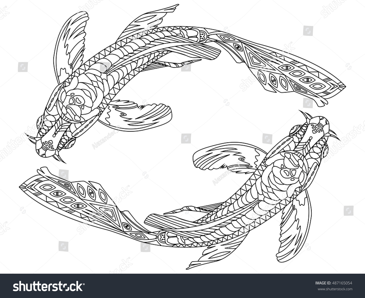 Koi Carp Fish Coloring Book For Adults Vector Illustration Zentangle Style Black And White