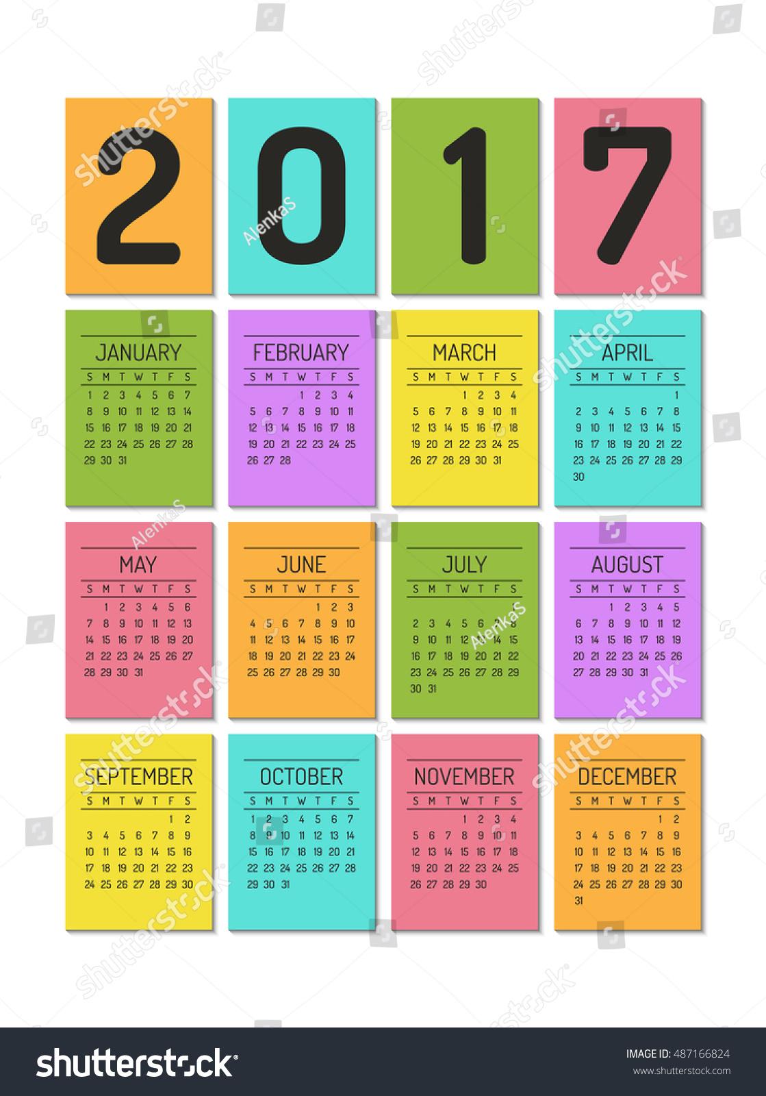color block calendar template for 2017 year week starts on sundayvector