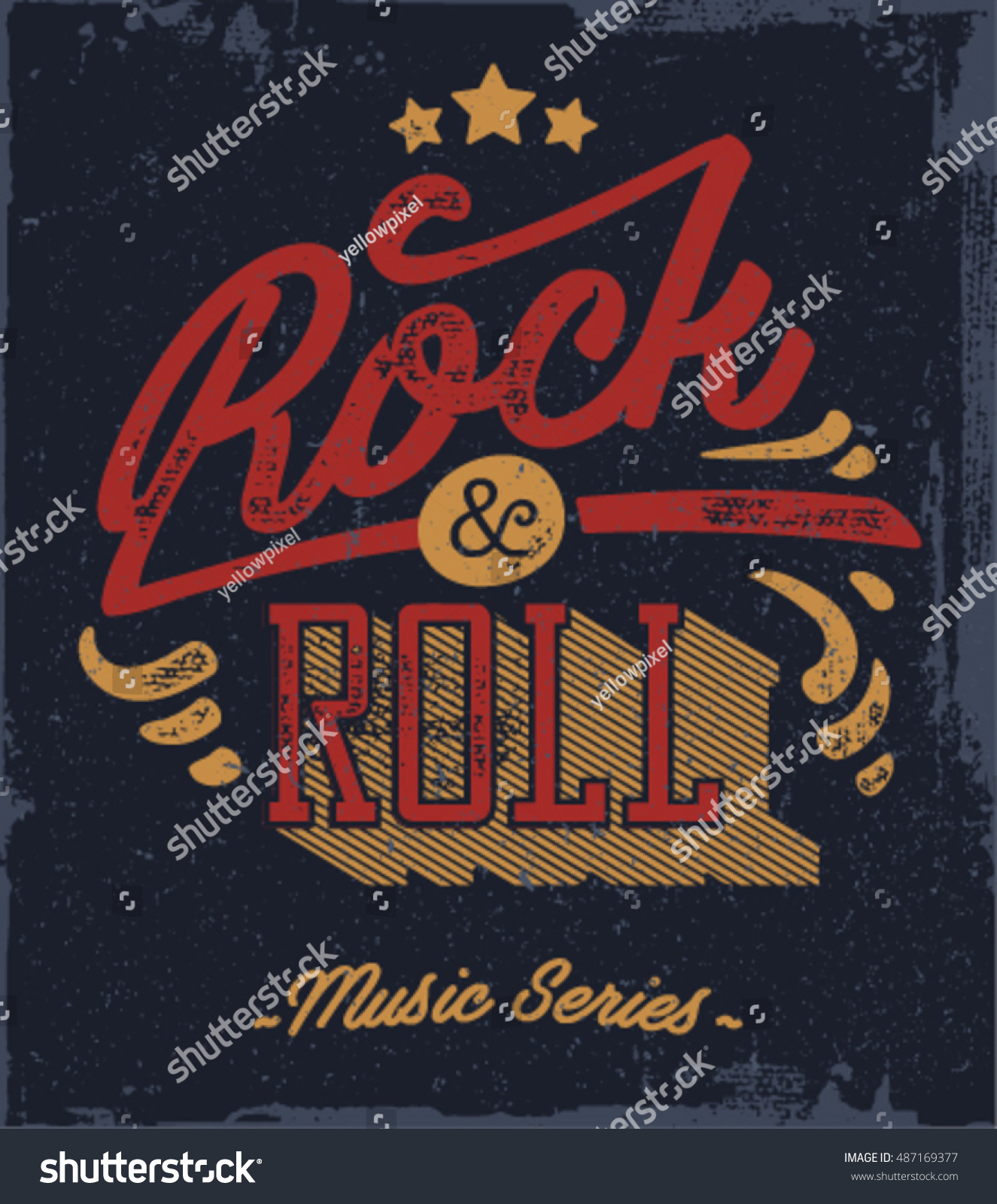 T shirt poster design - Rock And Roll Typography Vector T Shirt Or Poster Design Tee Template