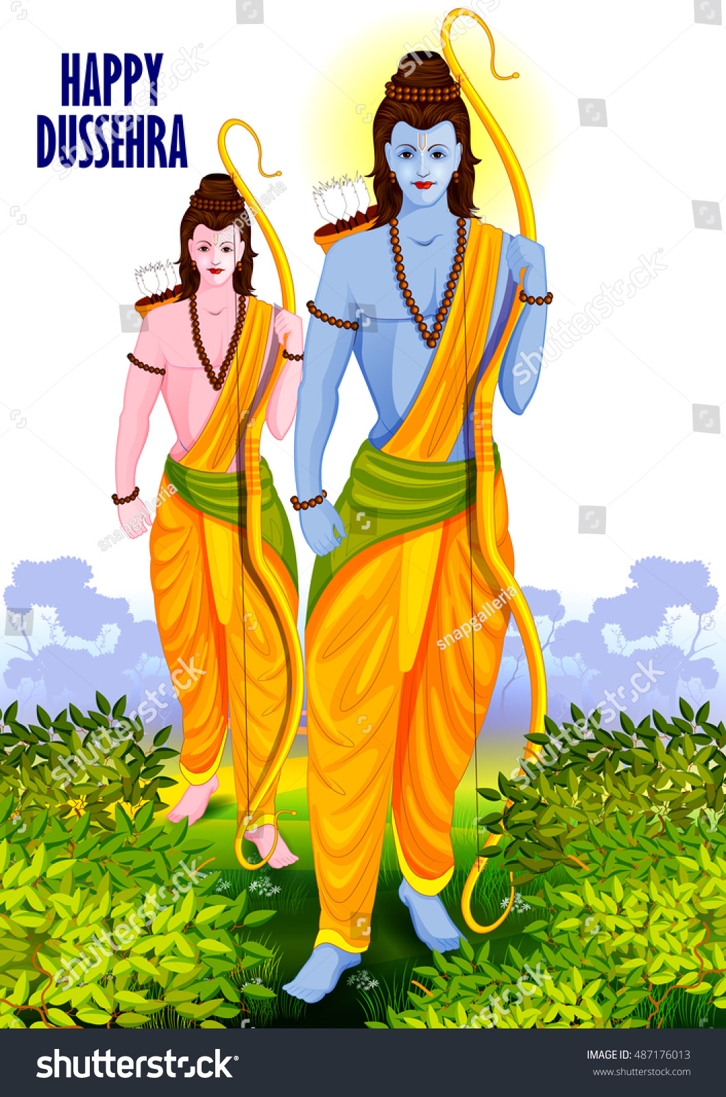 easy to edit vector illustration of Lord Rama and Laxmana in Happy Dussehra background showing festival of India