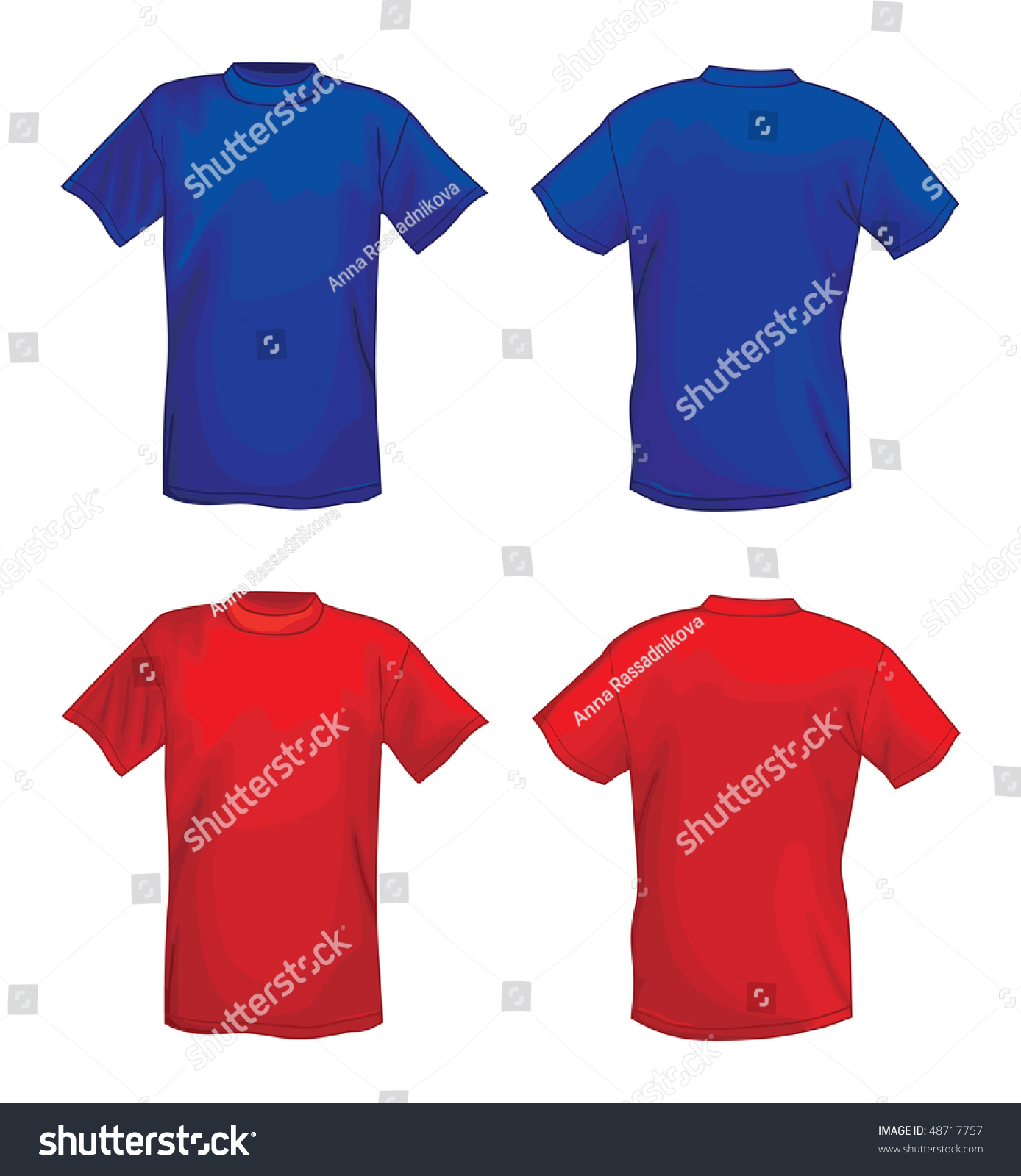 Blue and red vector t shirt design template front back for Red and blue t shirt