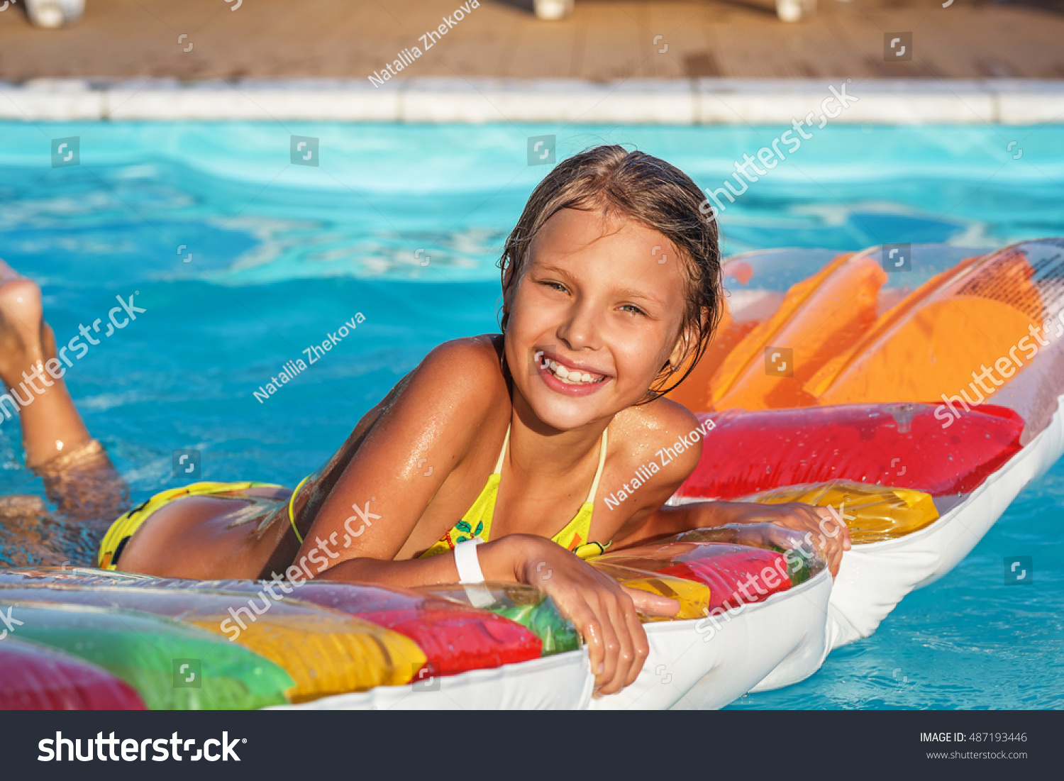 ea56179ed9d9 Little Girl On Inflatable Mattress Swim Stock Photo (Edit Now ...