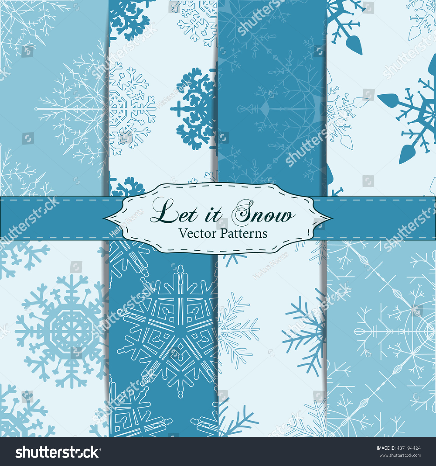 Set Snowflake Patterns Snowflake Vector Patterns Stock