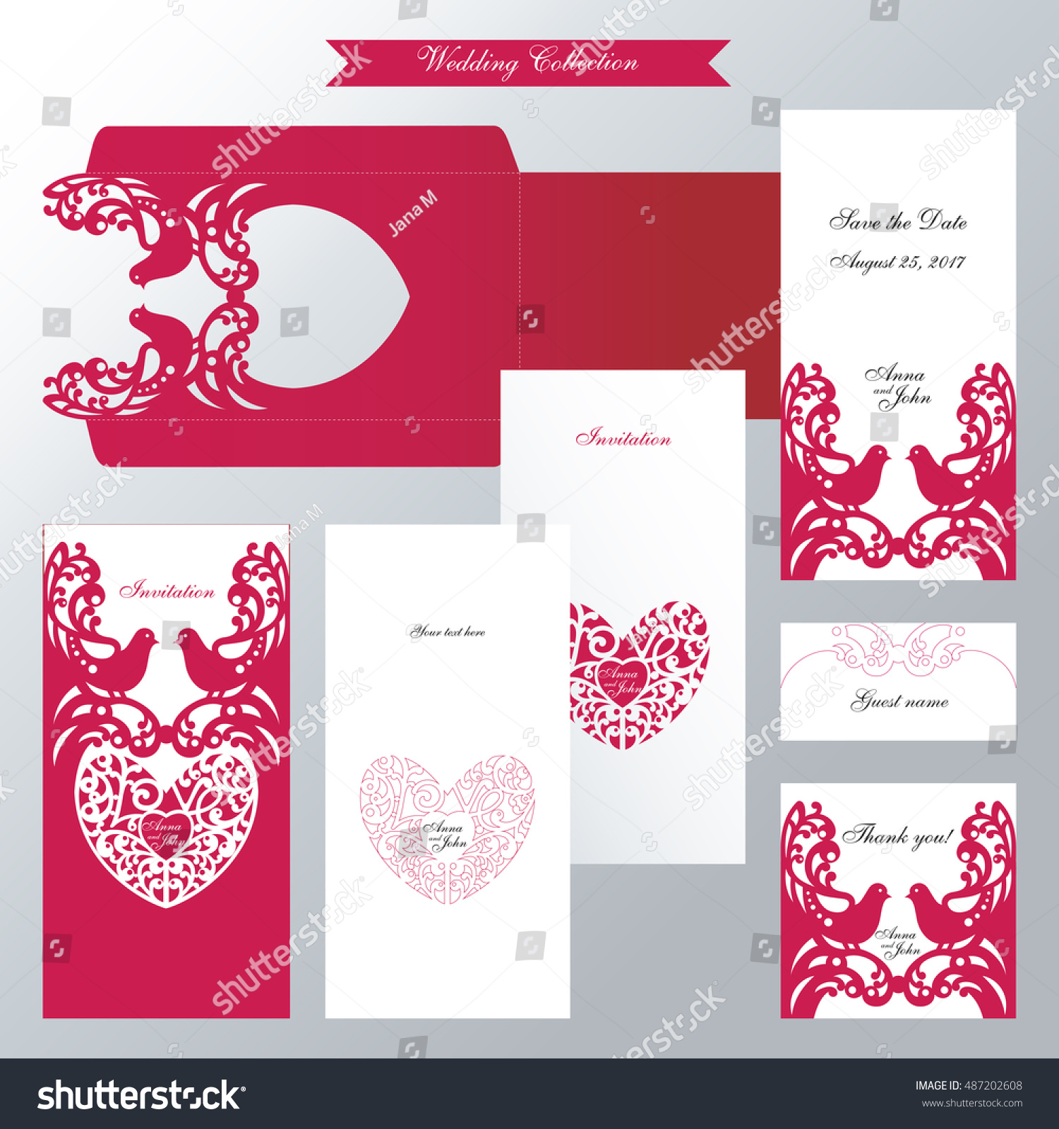 Wedding Collection Couple Birds Lace Heart Stock Vector 487202608 ...