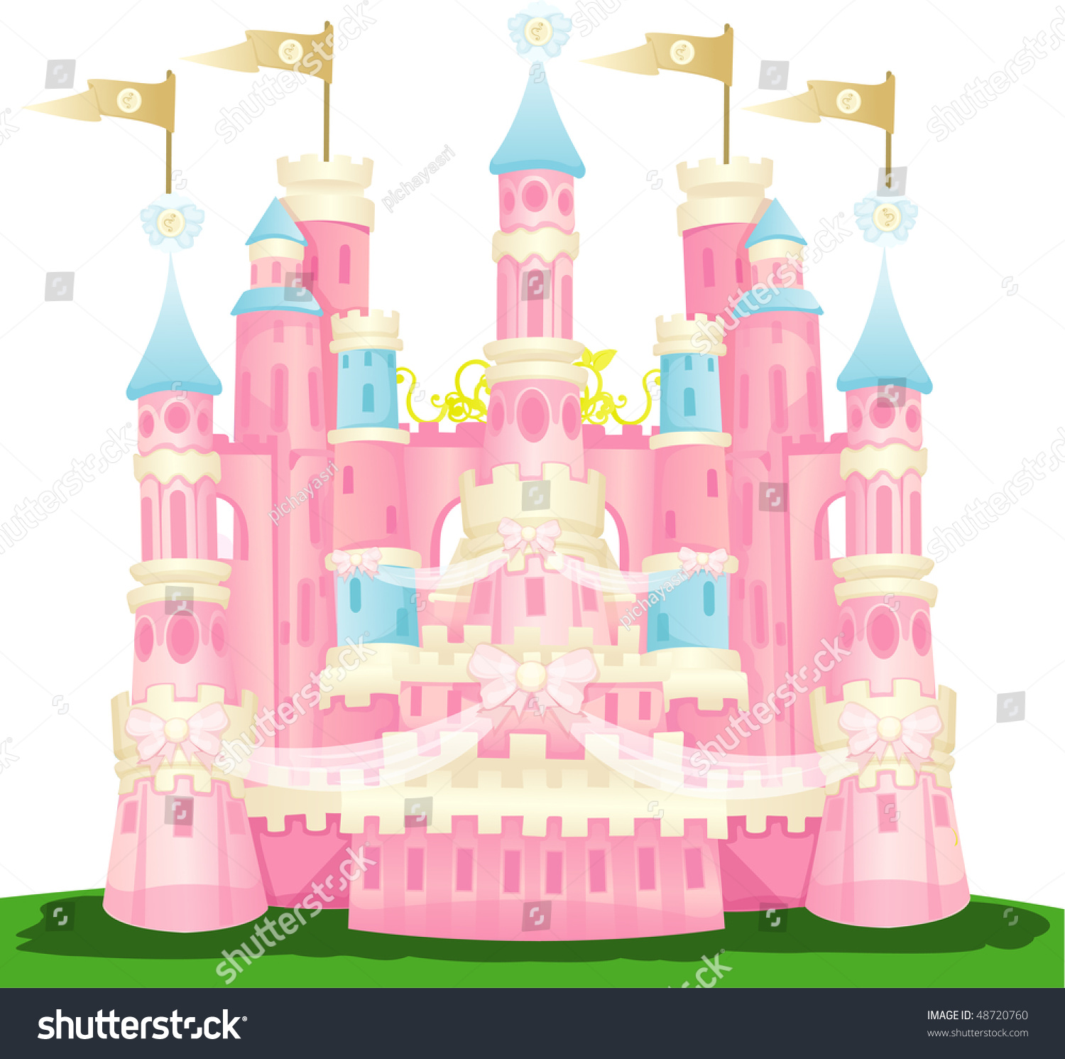 illustration of isolated pink castle on white background