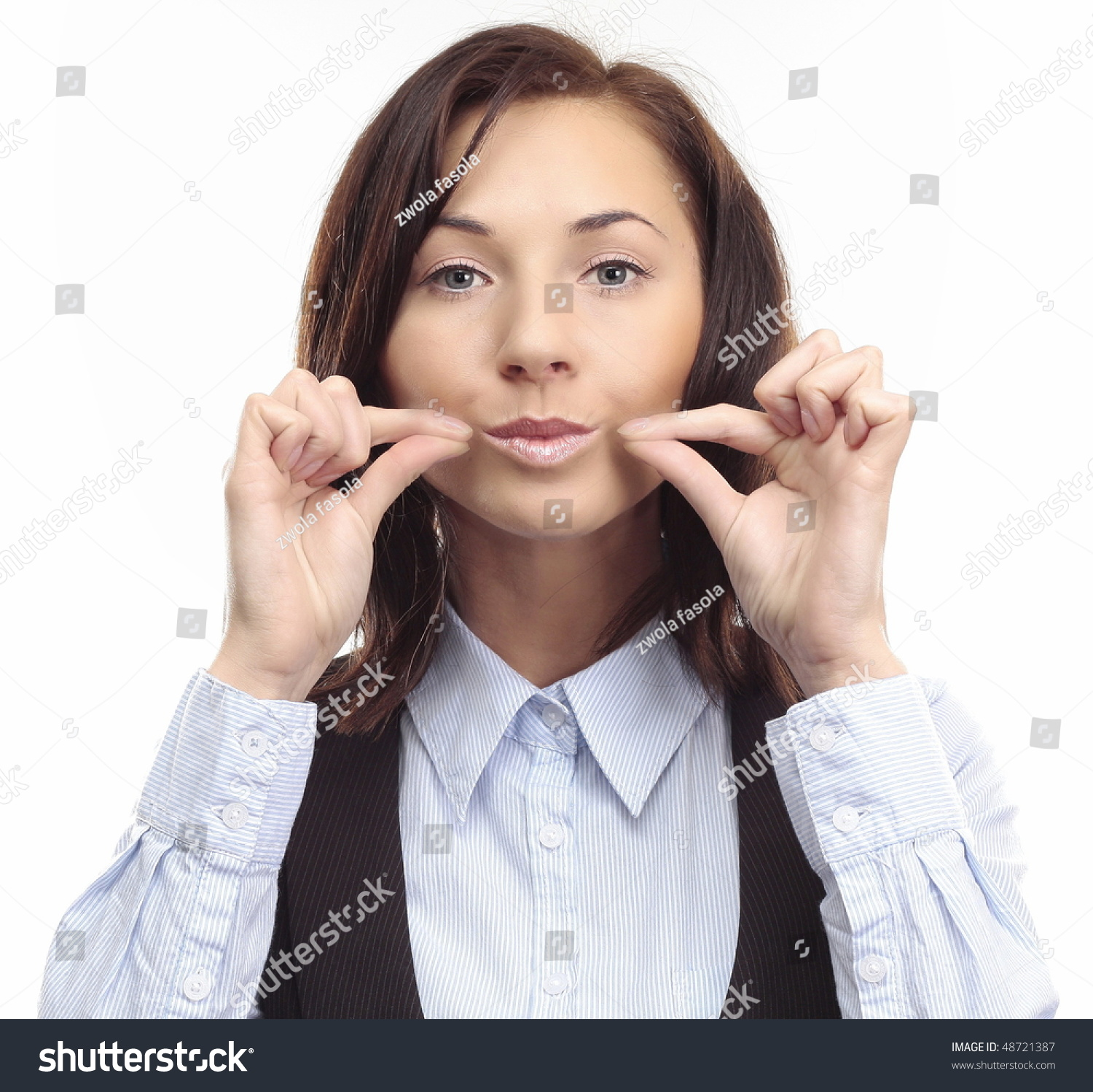 Be quiet young business woman shows stock photo 48721387 be quiet young business woman shows symbol keep quiet by her hands and face buycottarizona