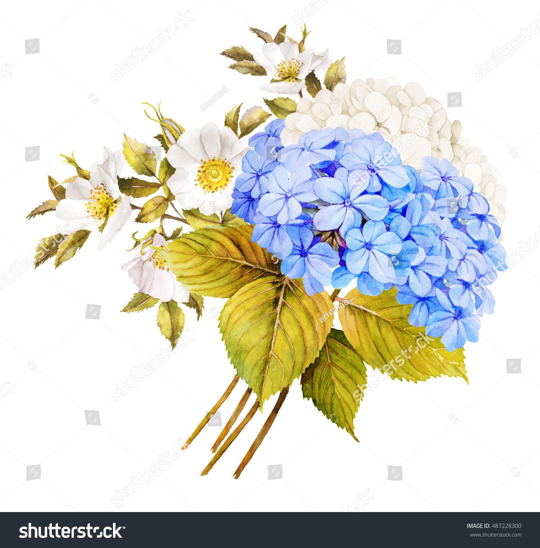 Blue White Flower Wedding Bouquet Watercolor Stock Illustration