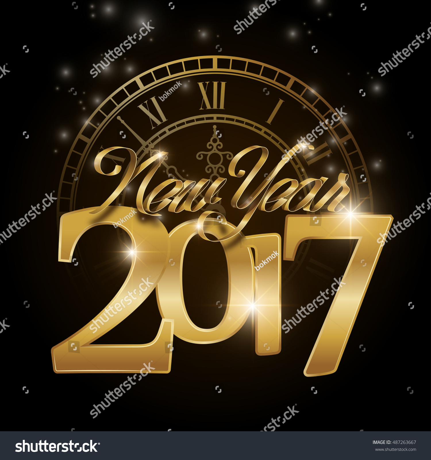 Happy New Year 2017 Greeting Card Stock Vector Royalty Free