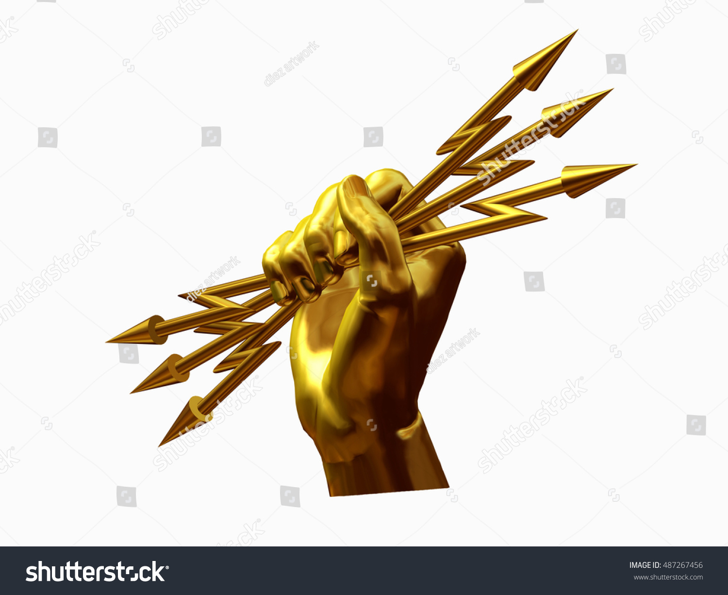Zeus hand holding bundle lightning gold stock illustration zeus hand holding a bundle of lightning in gold 3d illustration biocorpaavc Images