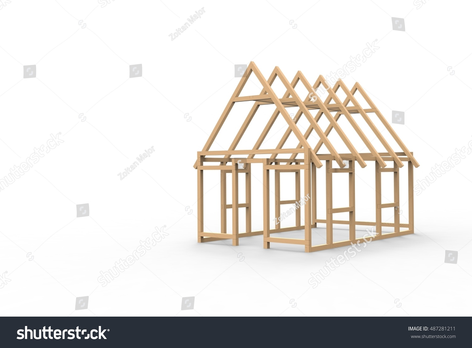 Charmant 3D CAD Model Of A Wooden House Frame
