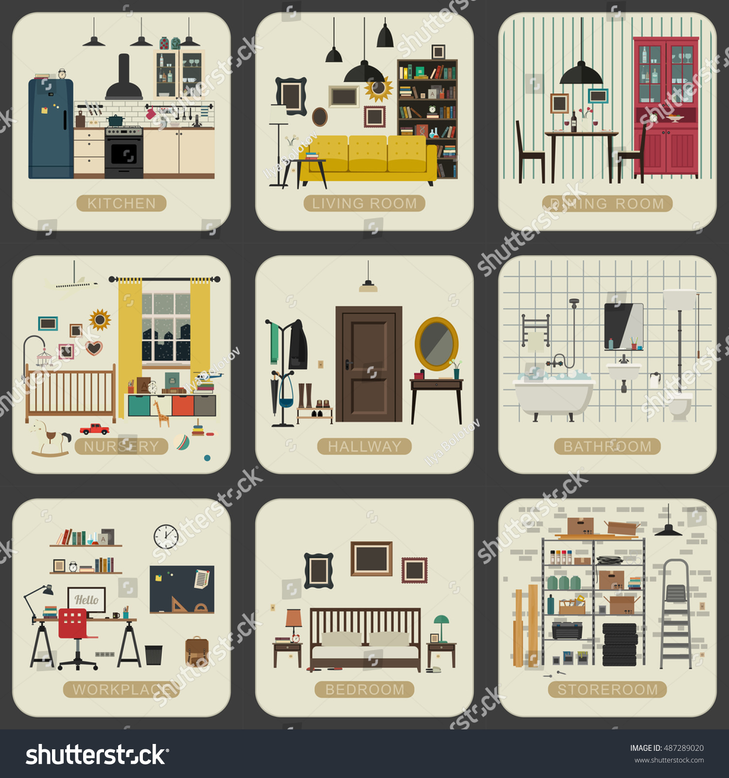 Set Interior Rooms Flat Style Vintage Stock Vector