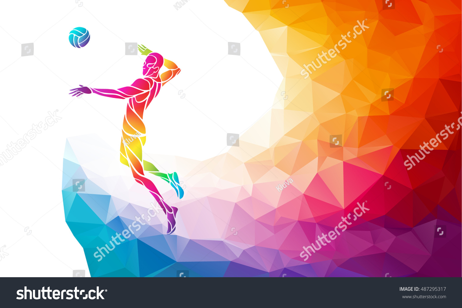 Color Silhouette Volleyball Player On Attack Stock Vector