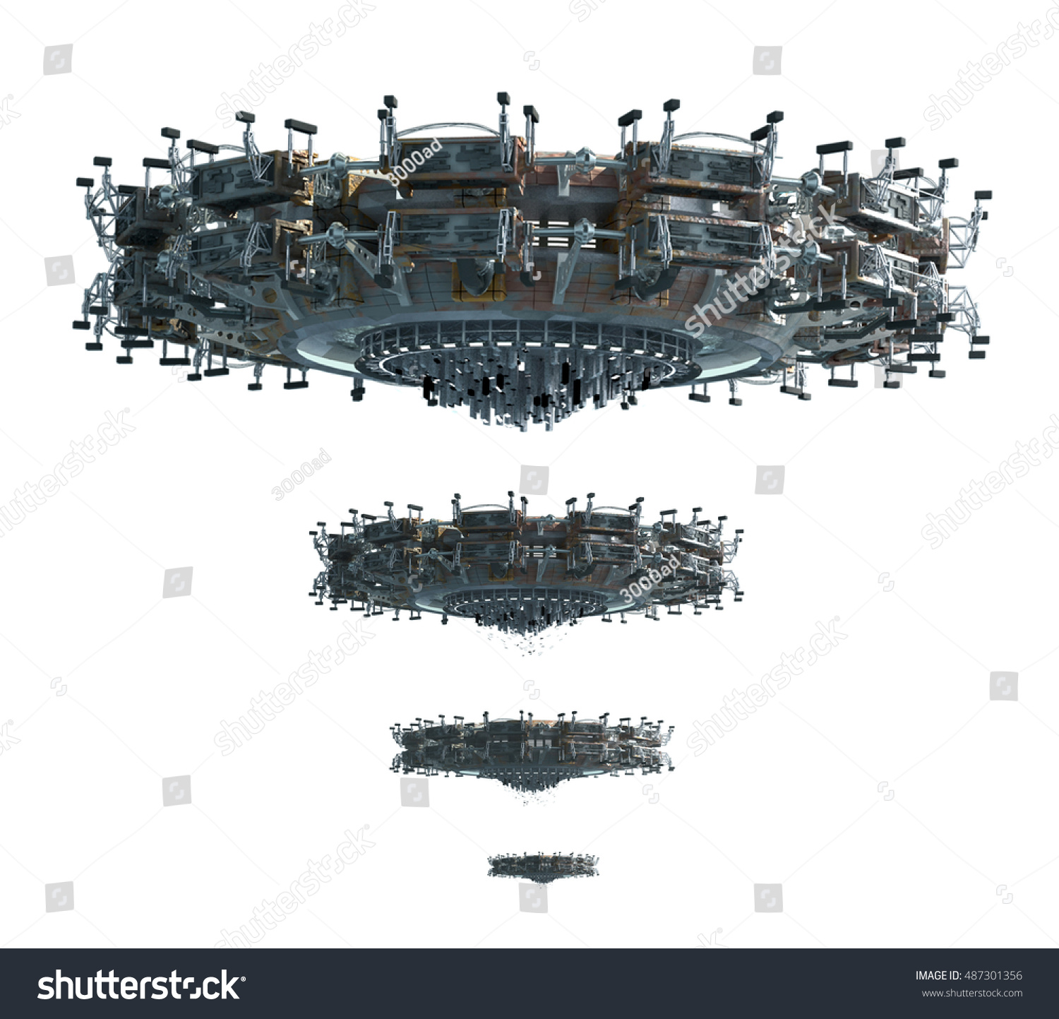 3 D Illustrations Ufo Four Images Adjusted Stock Illustration Engine Diagram 3d Of A In For Perspective Science Fiction Backgrounds