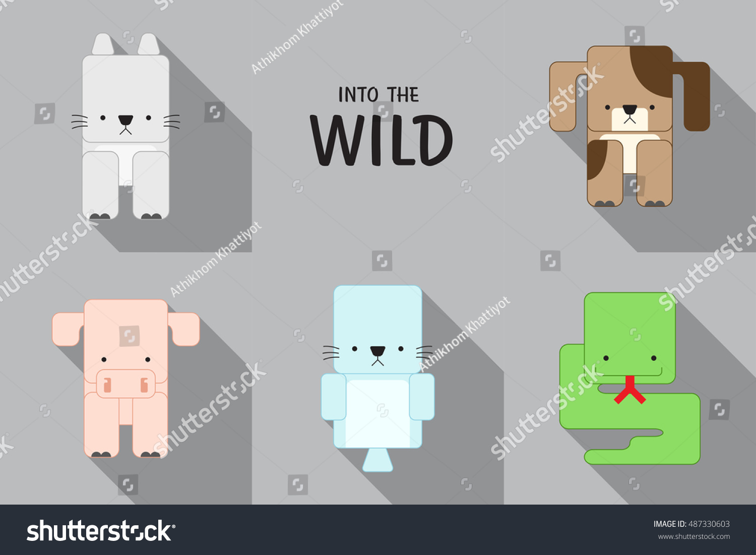 Animals Basic Shape Stock Vector 487330603