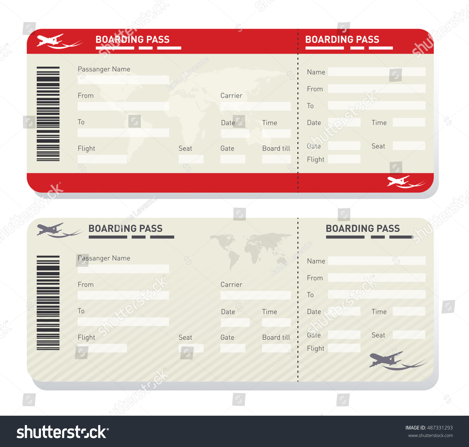 Illustration Of Two Different Airplane Ticket Template  E Ticket Template