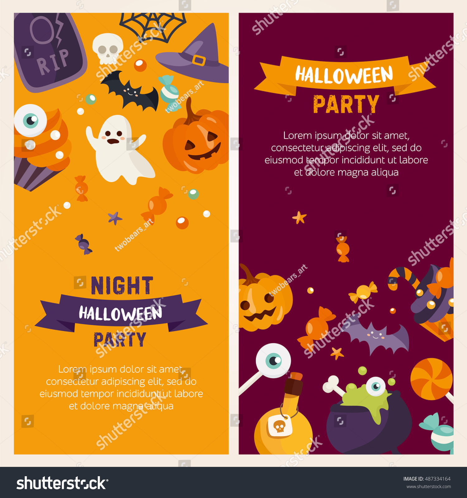 Halloween Banner Set Template Place Your Stock Photo (Photo, Vector ...