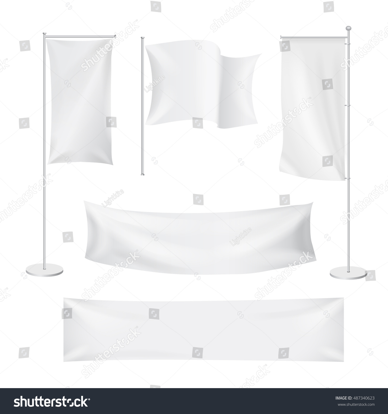 White Flags Textile Banners Folds Template Stock Vector ...