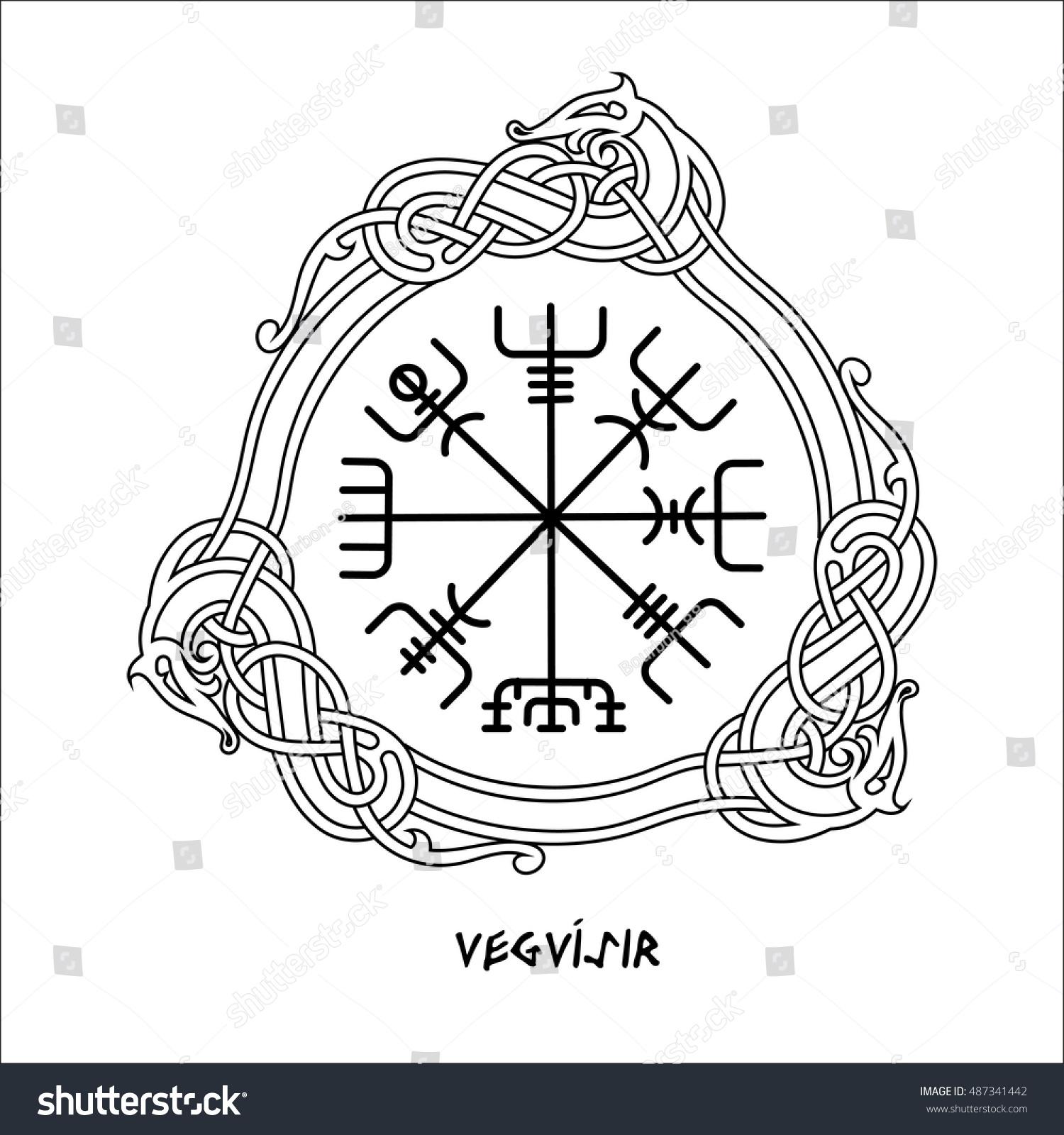 Vegvisir Magic Navigation Compass Ancient Icelandic Stock Vector