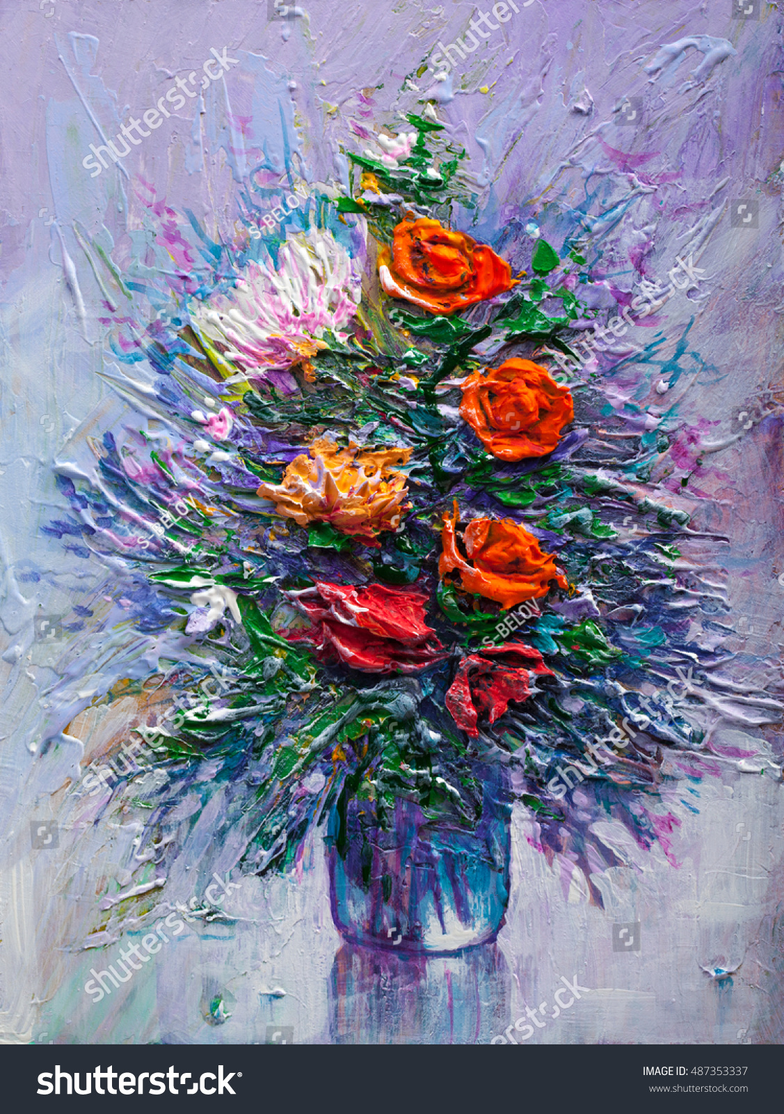 Oil Painting Bouquet Flowers Impressionist Style Stock Illustration ...