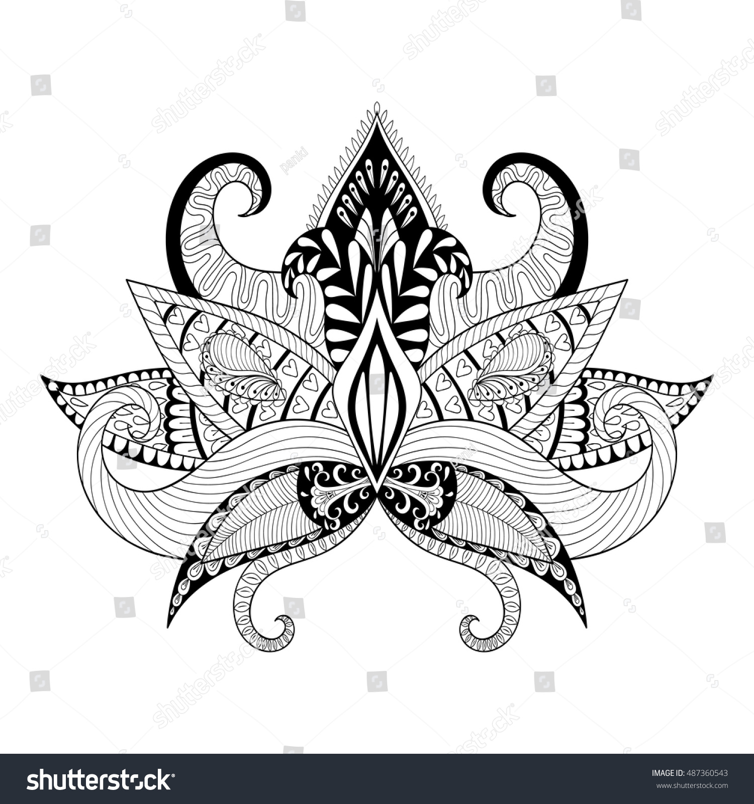 Boho Ornamental Lotus Flower Blackwork Tattoo Stock Vector Royalty