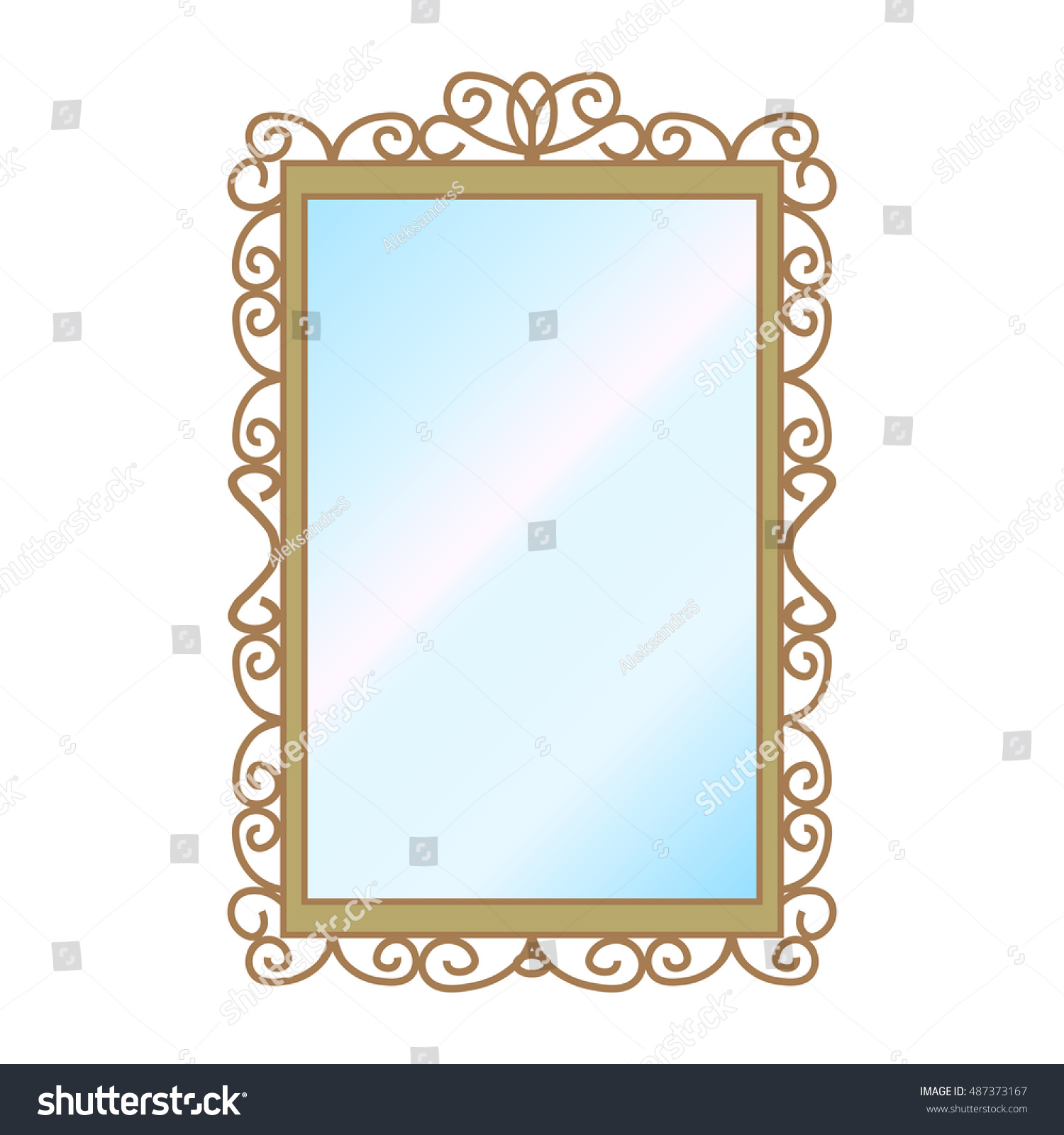 Vector illustration wall square mirror on stock vector 487373167 vector illustration of a wall square mirror on a white background amipublicfo Gallery