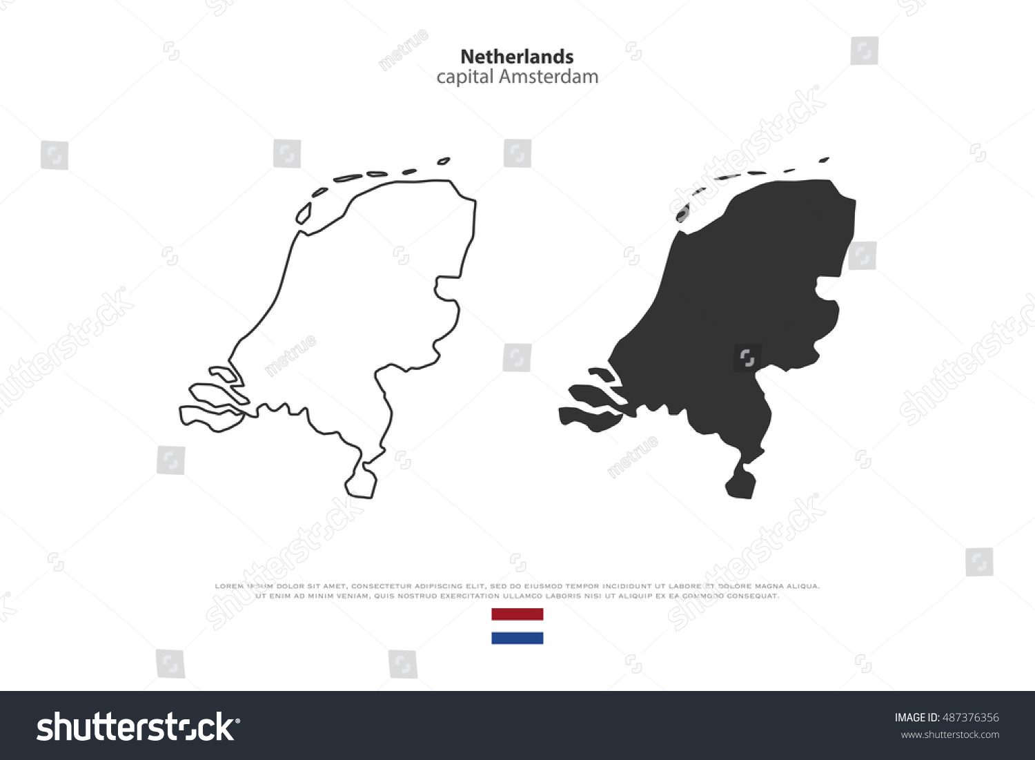 kingdom netherlands isolated map official flag stock vector