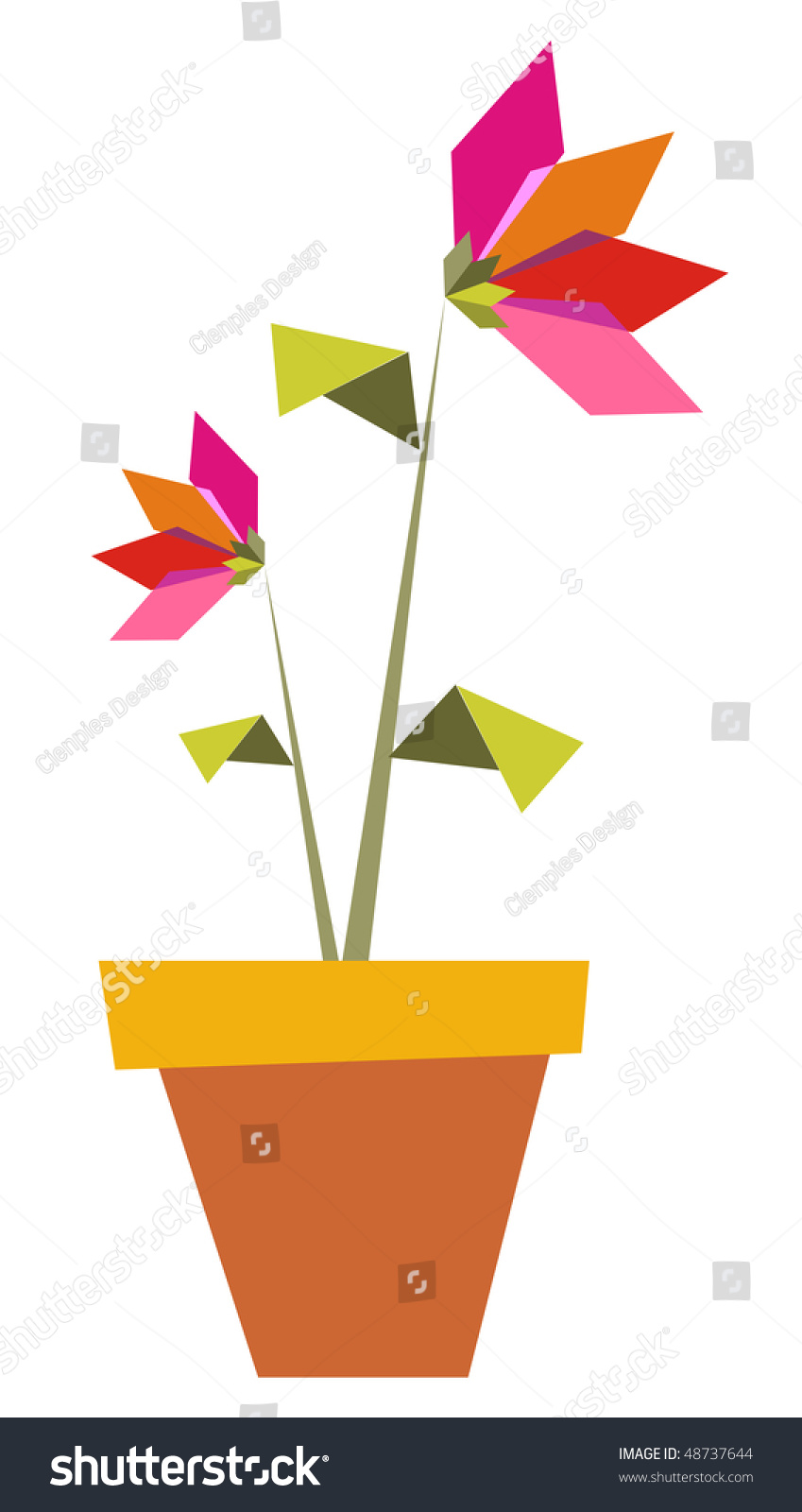 Origami Vibrant Colors Flowers Pot Vector Stock Vector Royalty Free