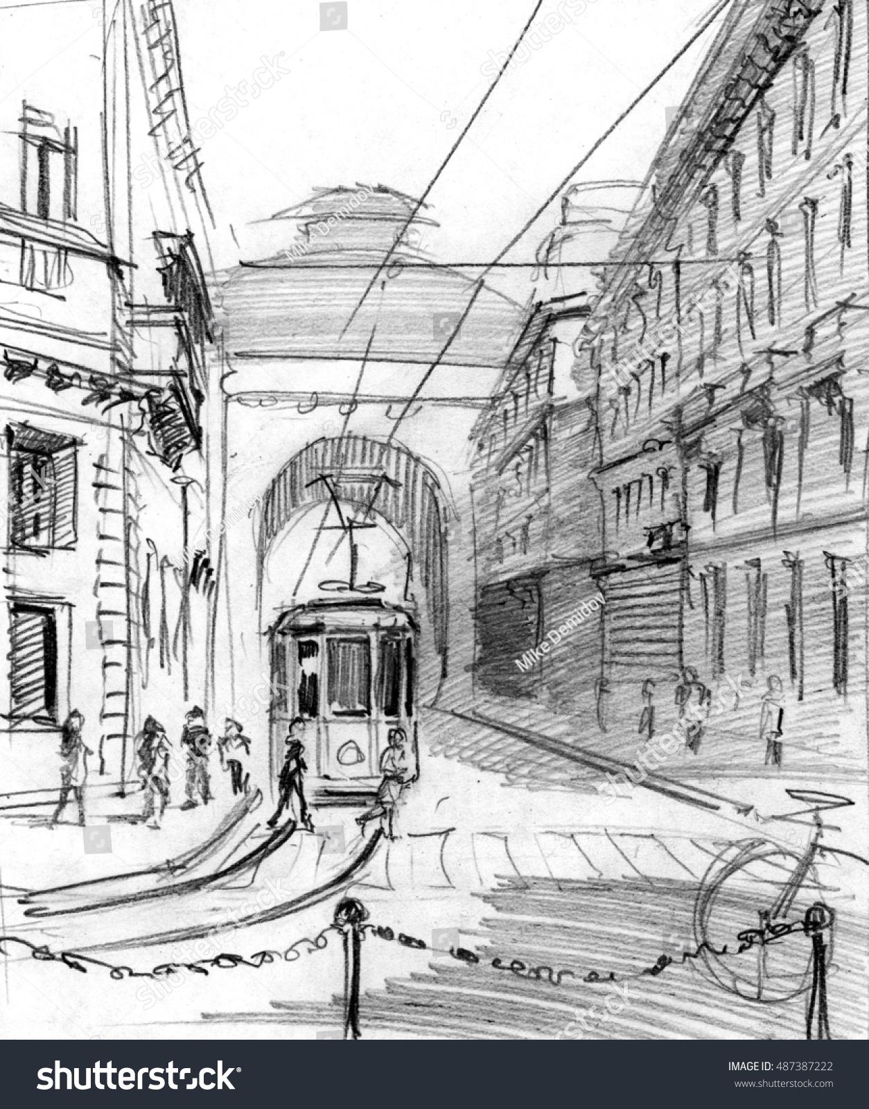 Pencil Drawing O Center Milan Italy Stock Illustration 487387222 ...