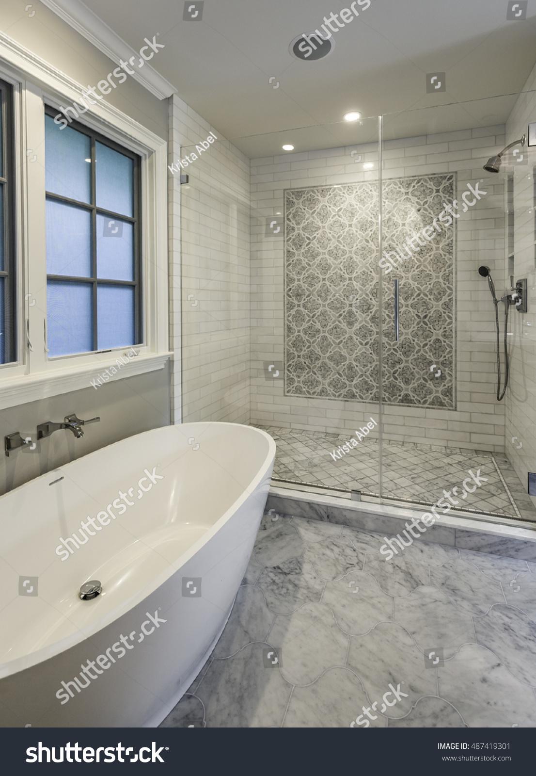Master Bathroom Large Tub Tiled Shower Stock Photo (Edit Now ...
