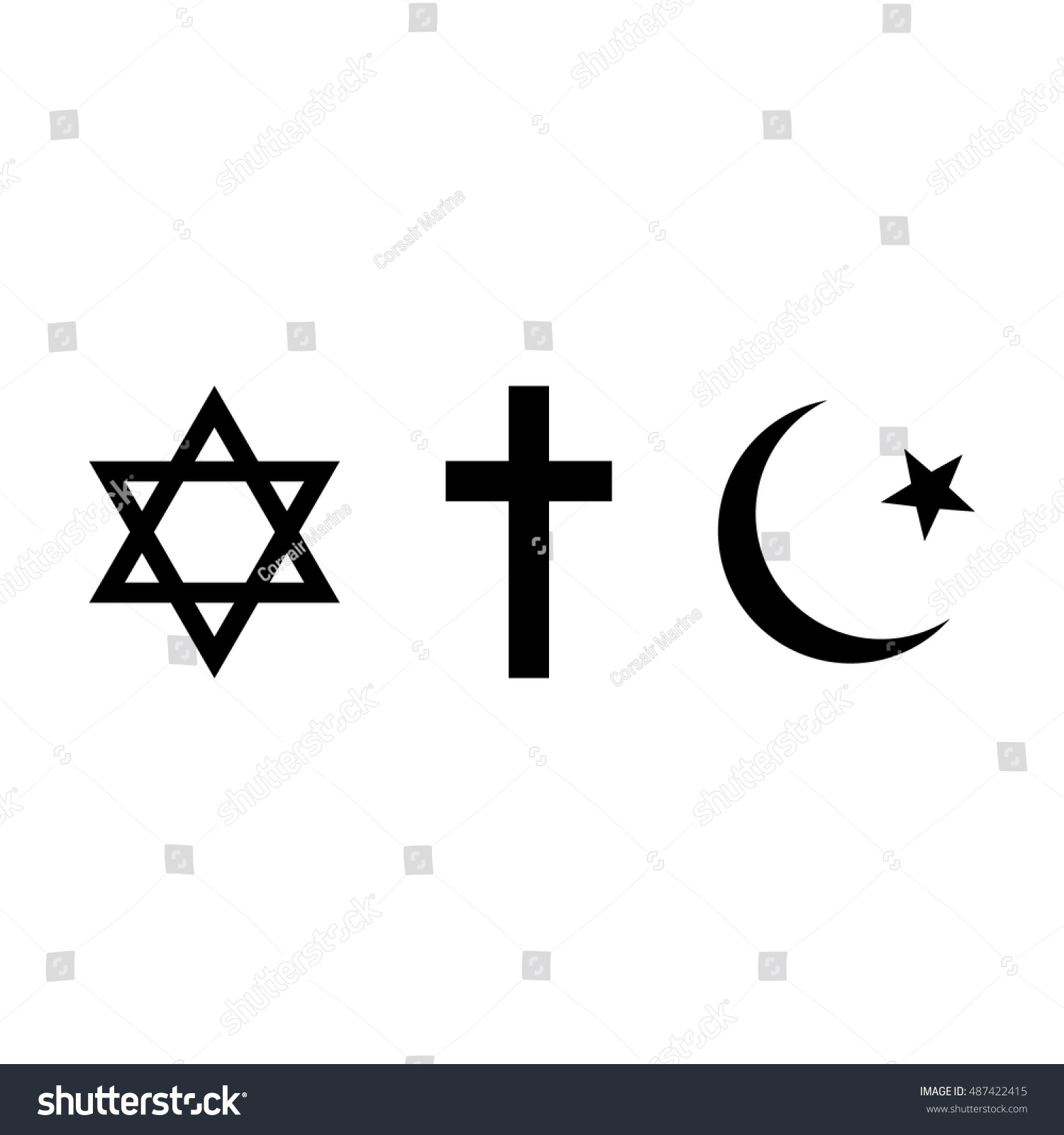World Religions Symbols Judaism Christianity Islam Stock Vector