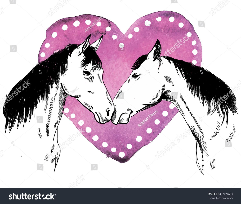 Vector De Stock Libre De Regalias Sobre Two Horses Drawing By Hand Valentine487424683