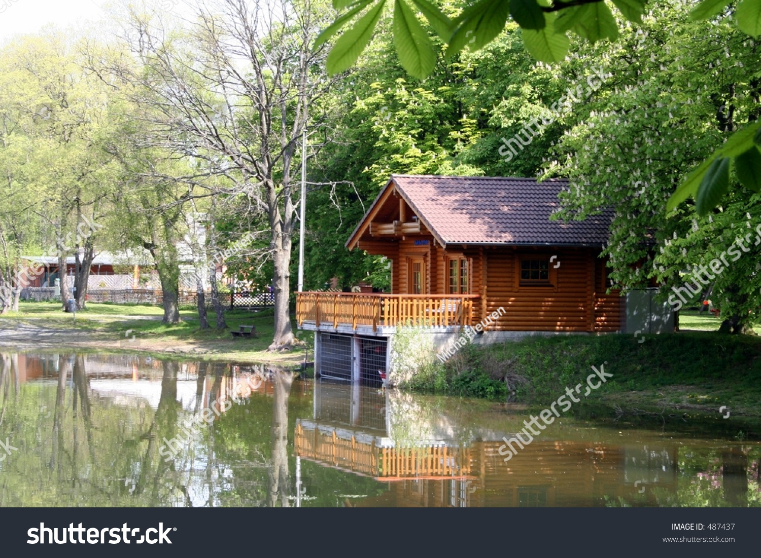 A Small Wooden Cottage At A Lake Stock Photo 487437