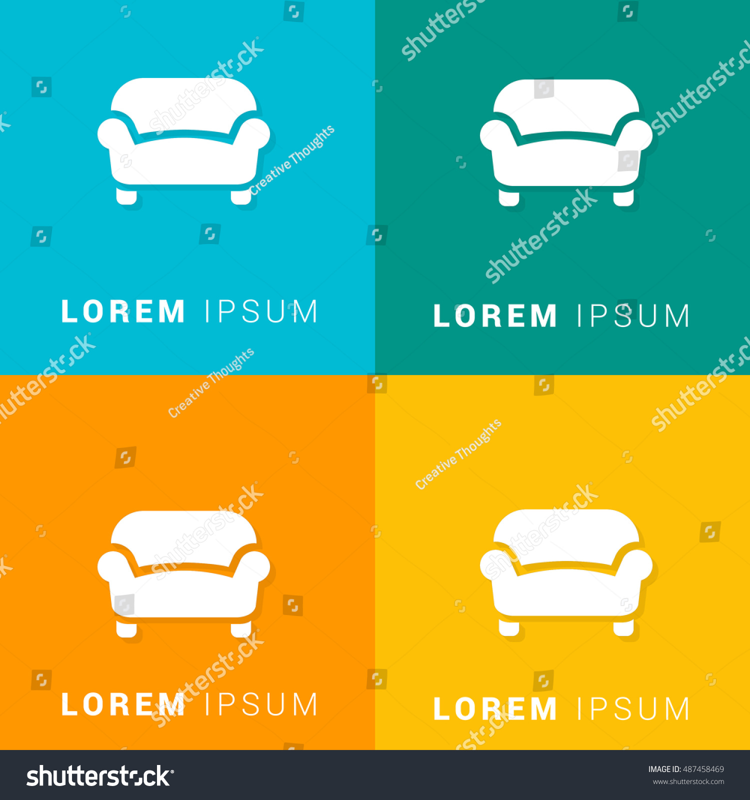 Sofa Four Color Material Designed Icon Stock Vector 487458469 ...