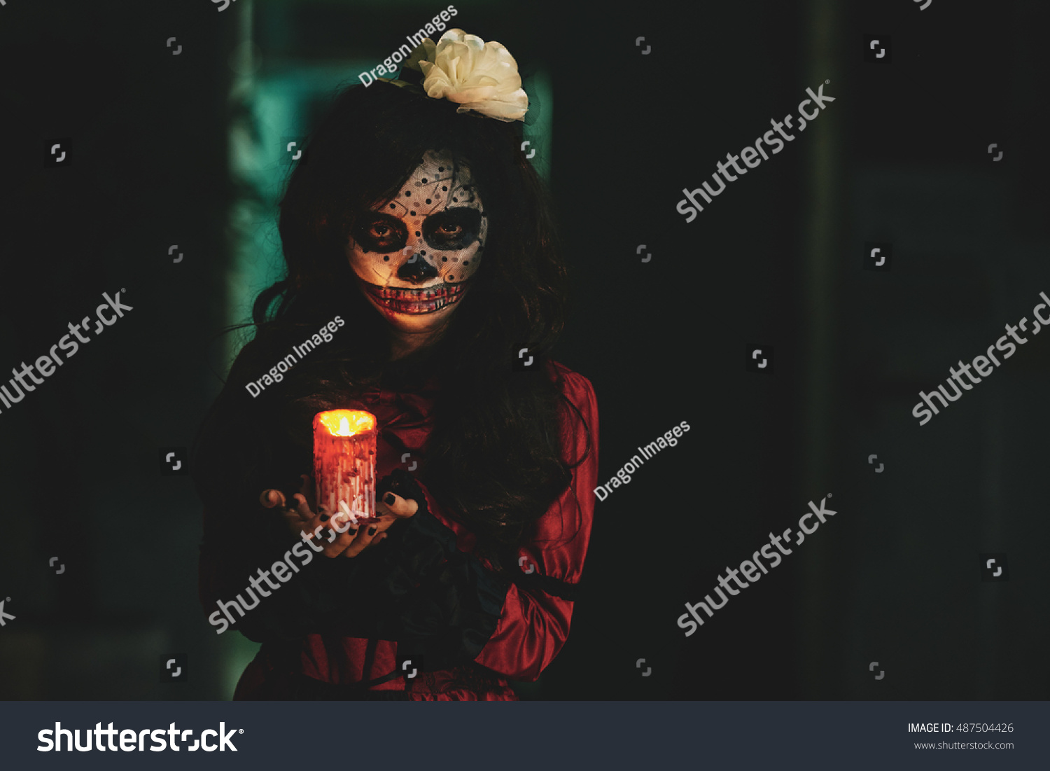 Halloween Girl Holding Glowing Candle Dark Stock Photo 487504426 ... for Holding Candle In The Dark  155fiz