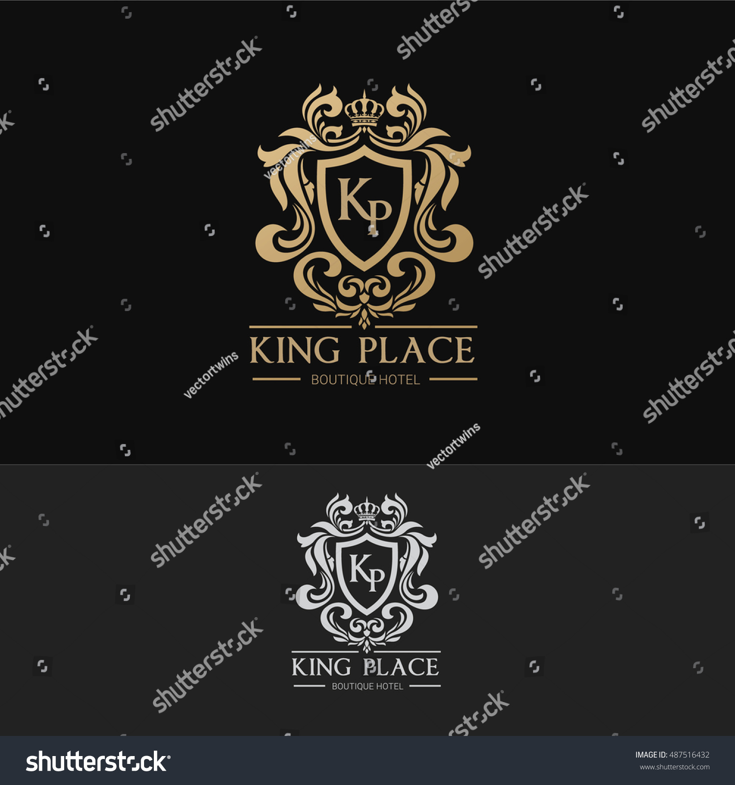 King Place Luxury Brand Logo Template Stock Vector 487516432